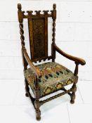 Early 20th Century oak framed open armchair