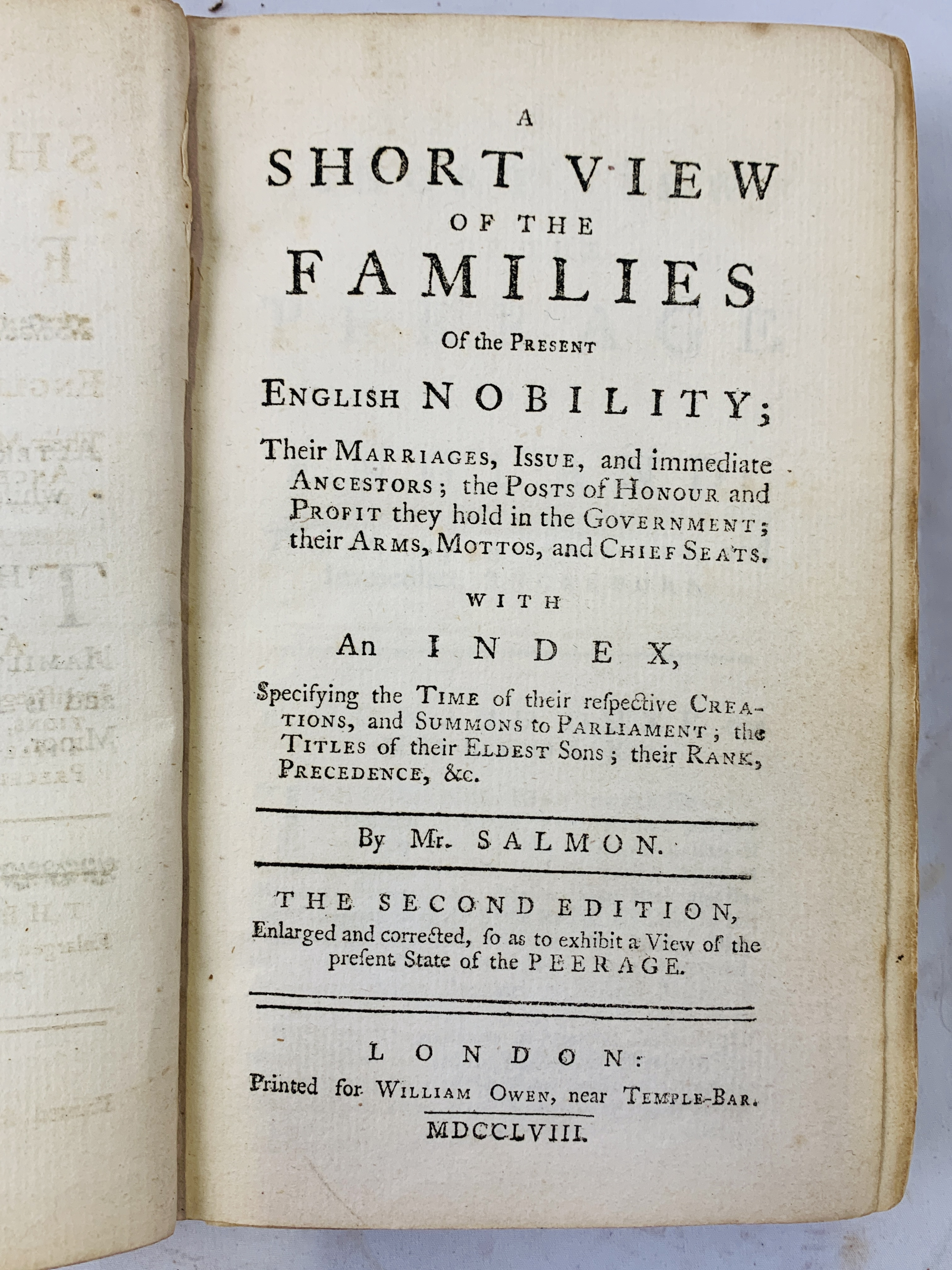A Short View of the Families of the Present English Nobility, 1758 by Mr Salmon - Image 2 of 4