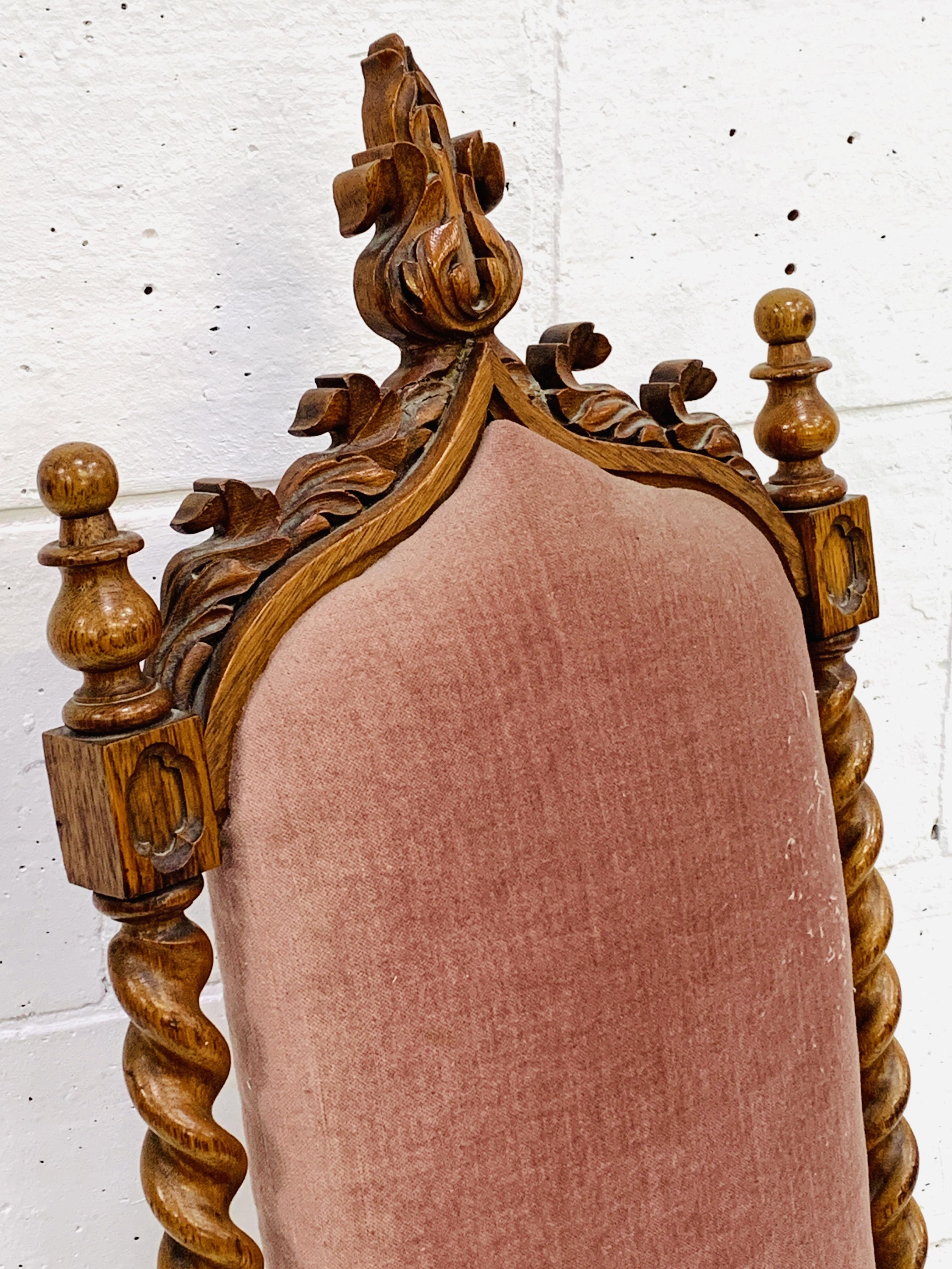 Oak framed high back hall chair - Image 4 of 5