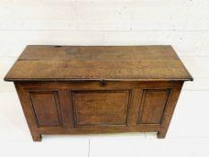18th century oak three panel coffer