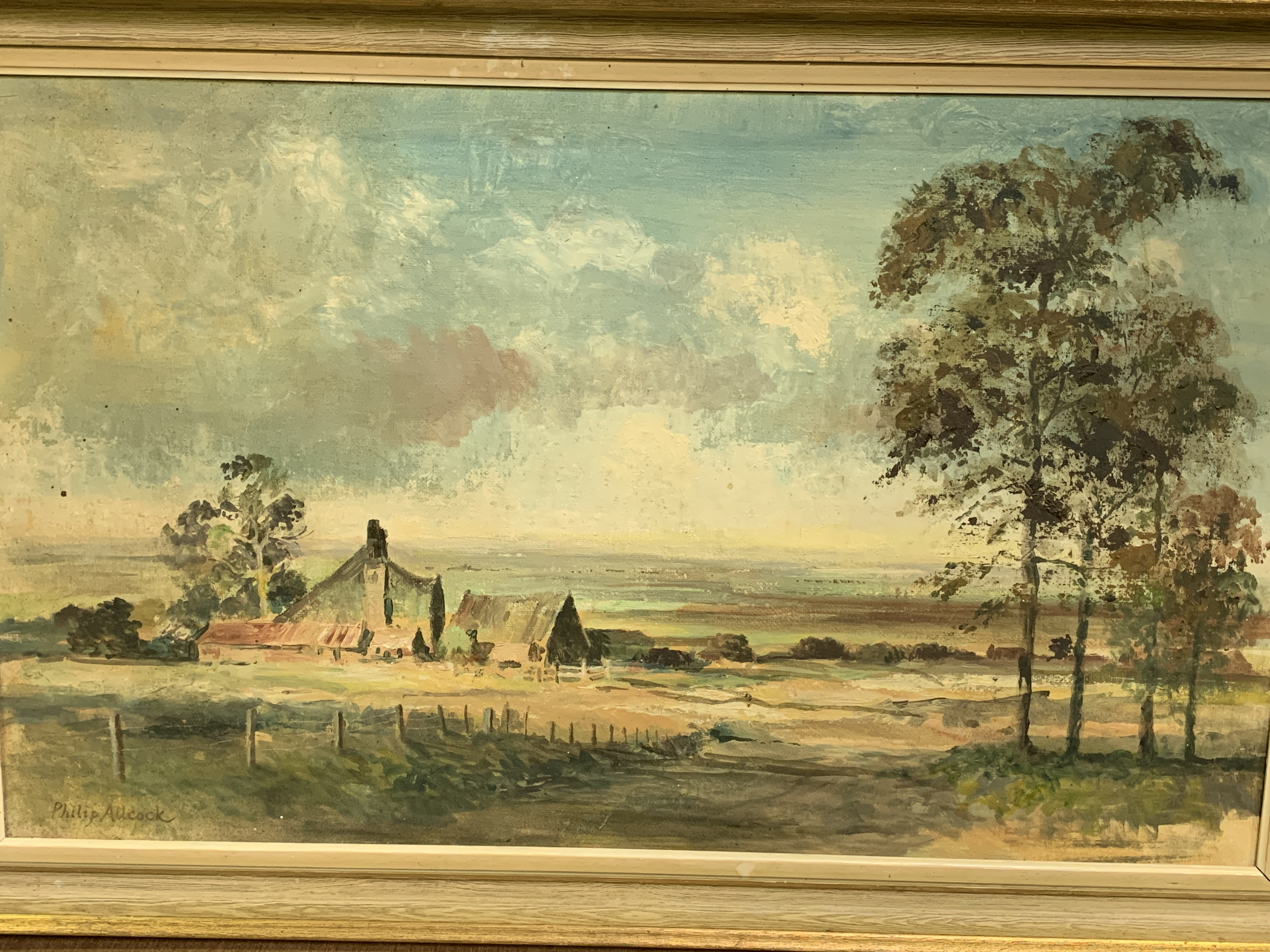 Framed oil on board of a landscape with a farmhouse, signed bottom left Philip Allcock - Image 4 of 5