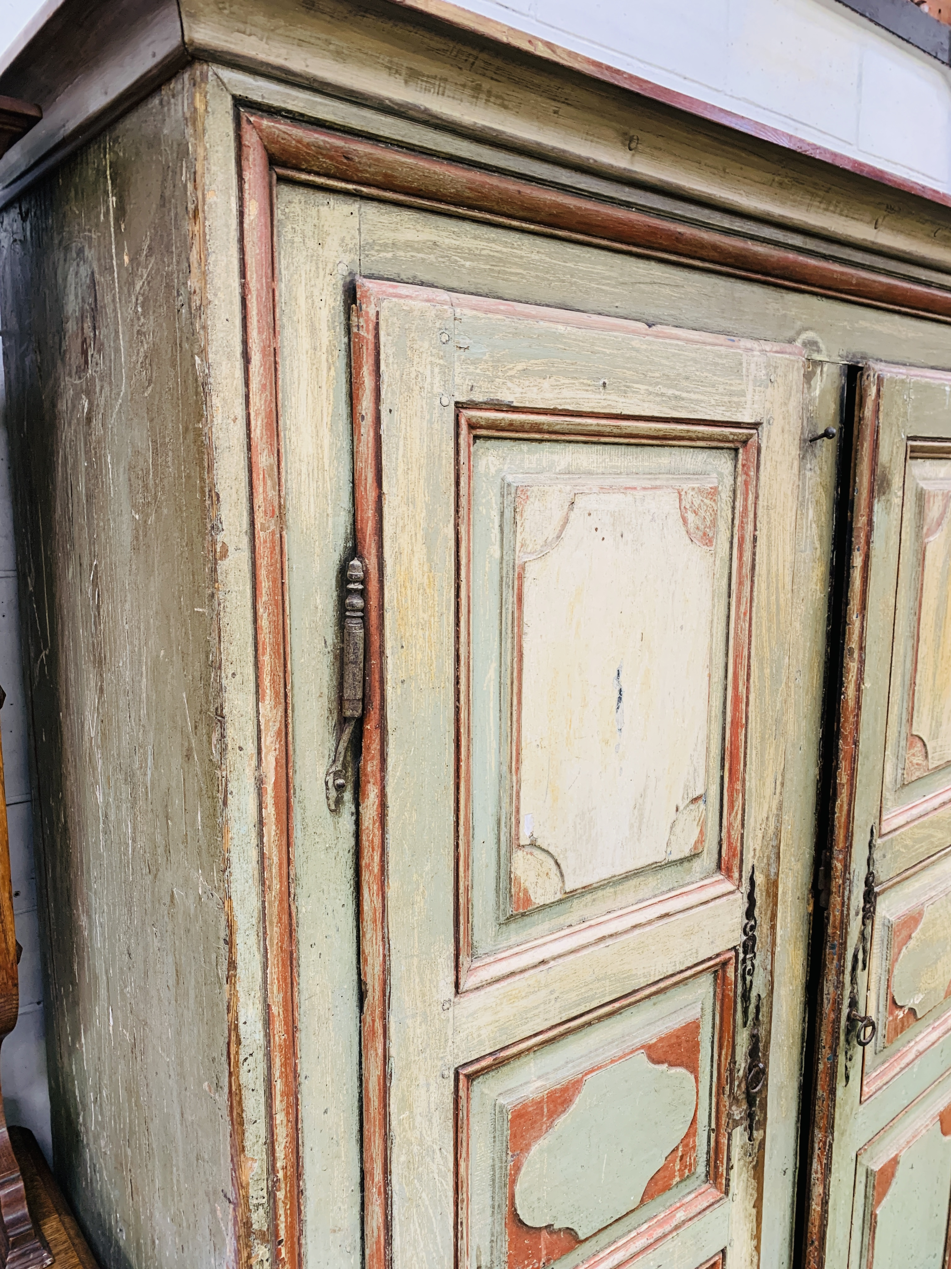 Mid-19th century French painted pine wardrobe - Image 5 of 8