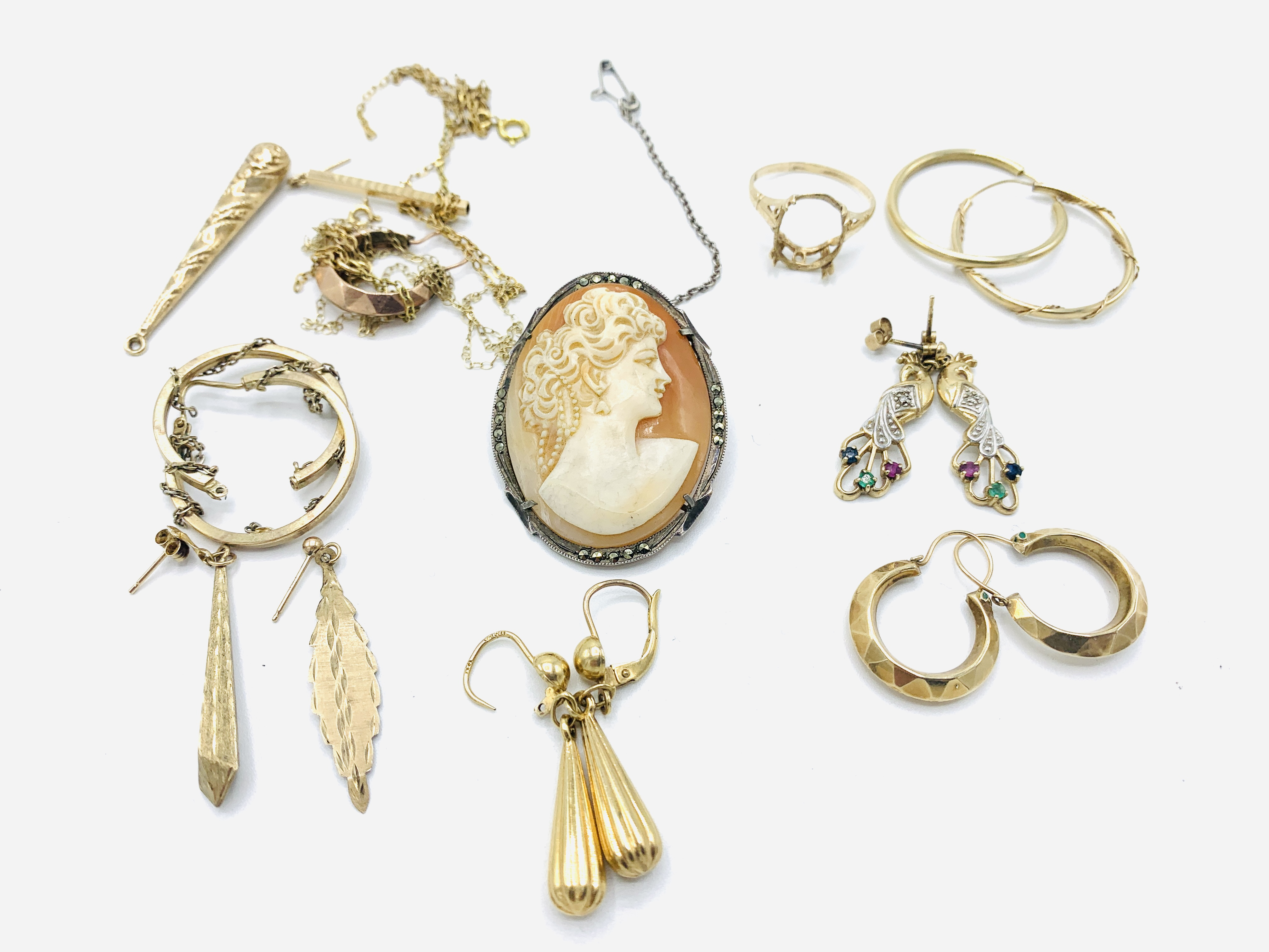 Six pairs of 9ct gold earrings; together with other jewellery