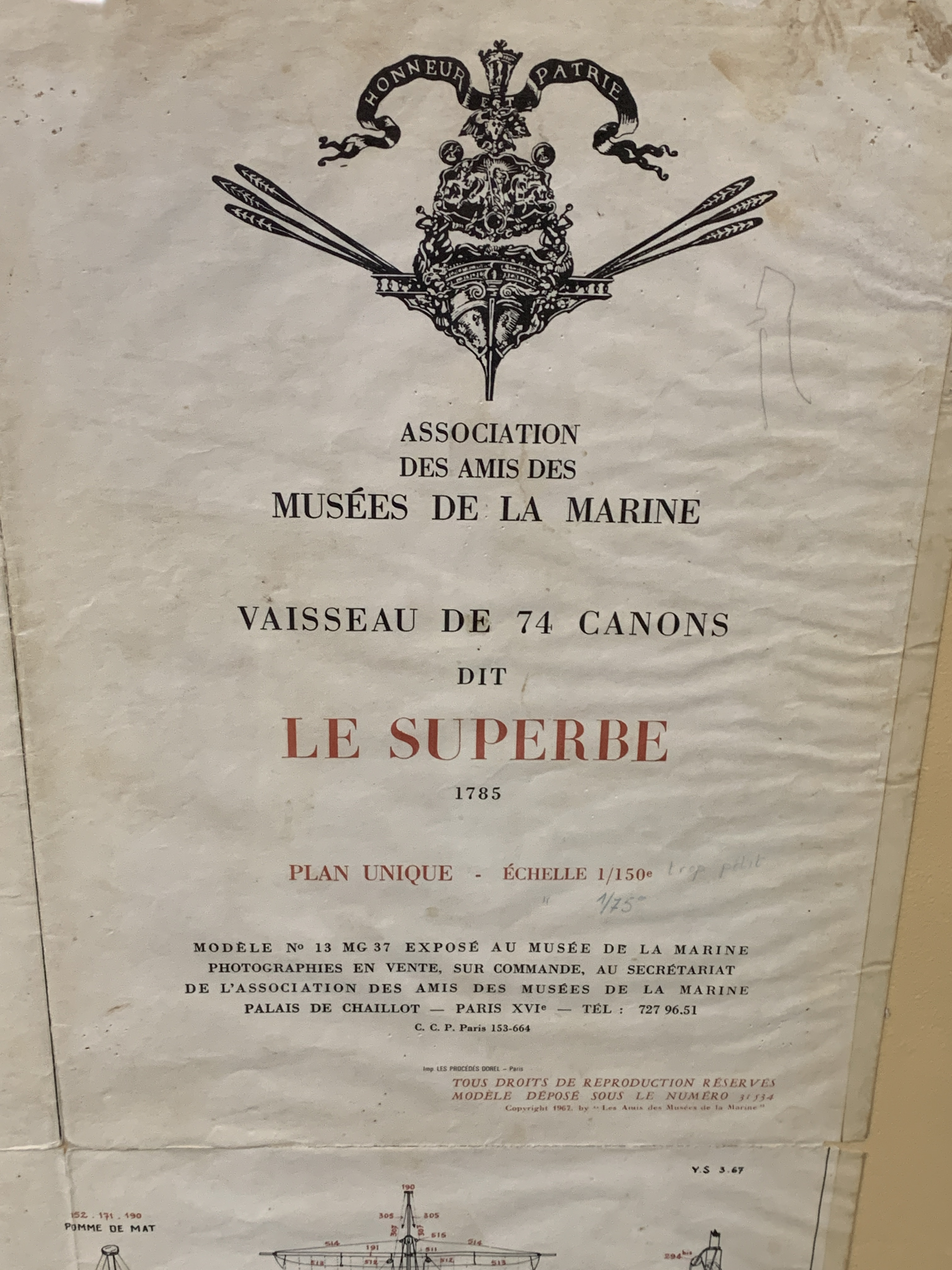 A Musee de La Marie, 1/150 scale plan of the 74 gun warship Le Superbe - Image 5 of 5