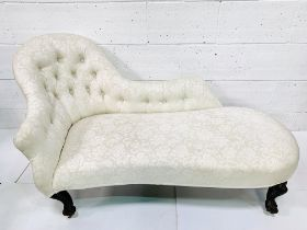 Victorian chaise longue in button back cream floral pattern upholstery