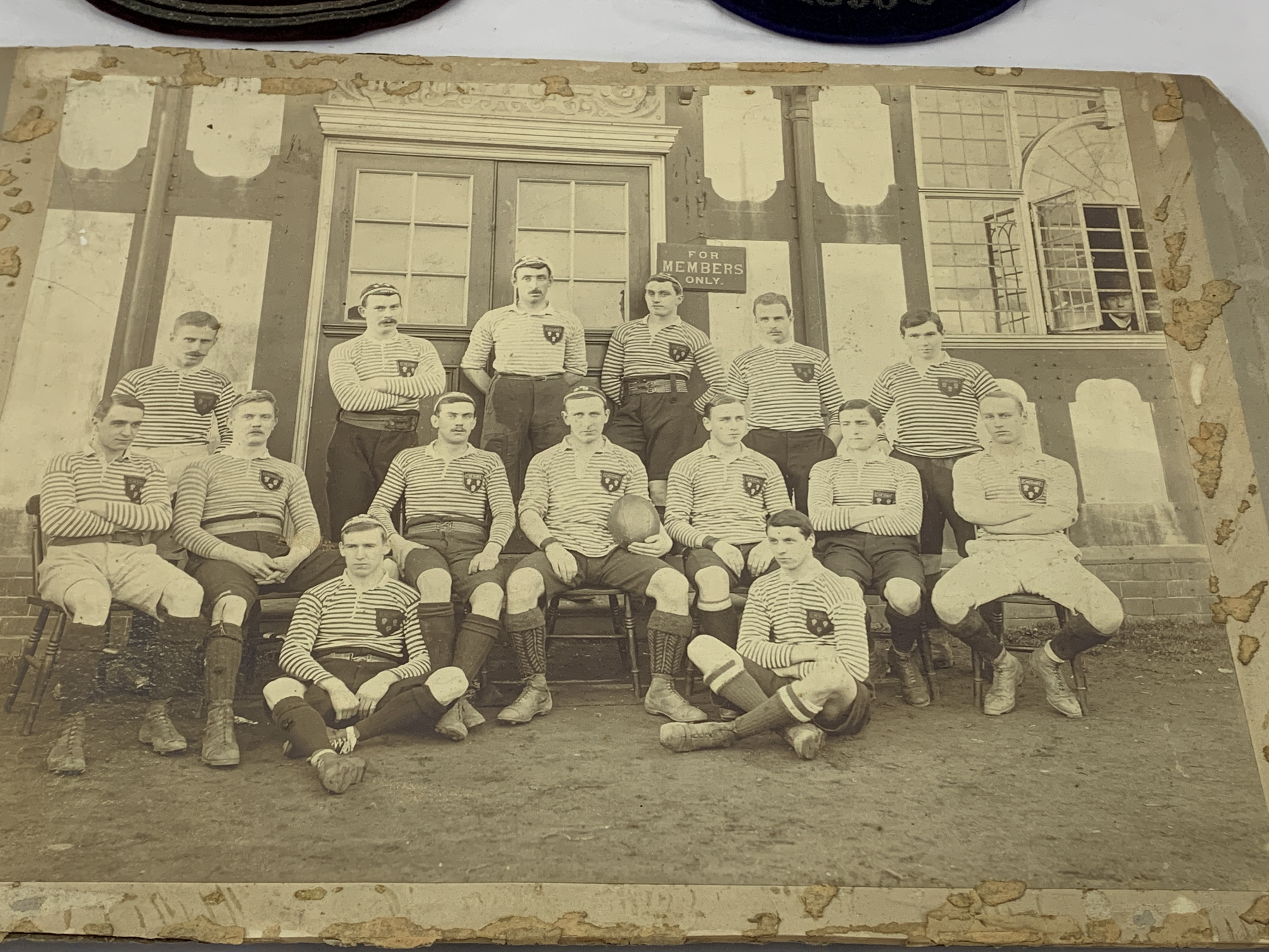 Black and white photograph of a Cheshire Rugby team circa 1895, a shirt badge and 2 velvet caps - Image 2 of 6