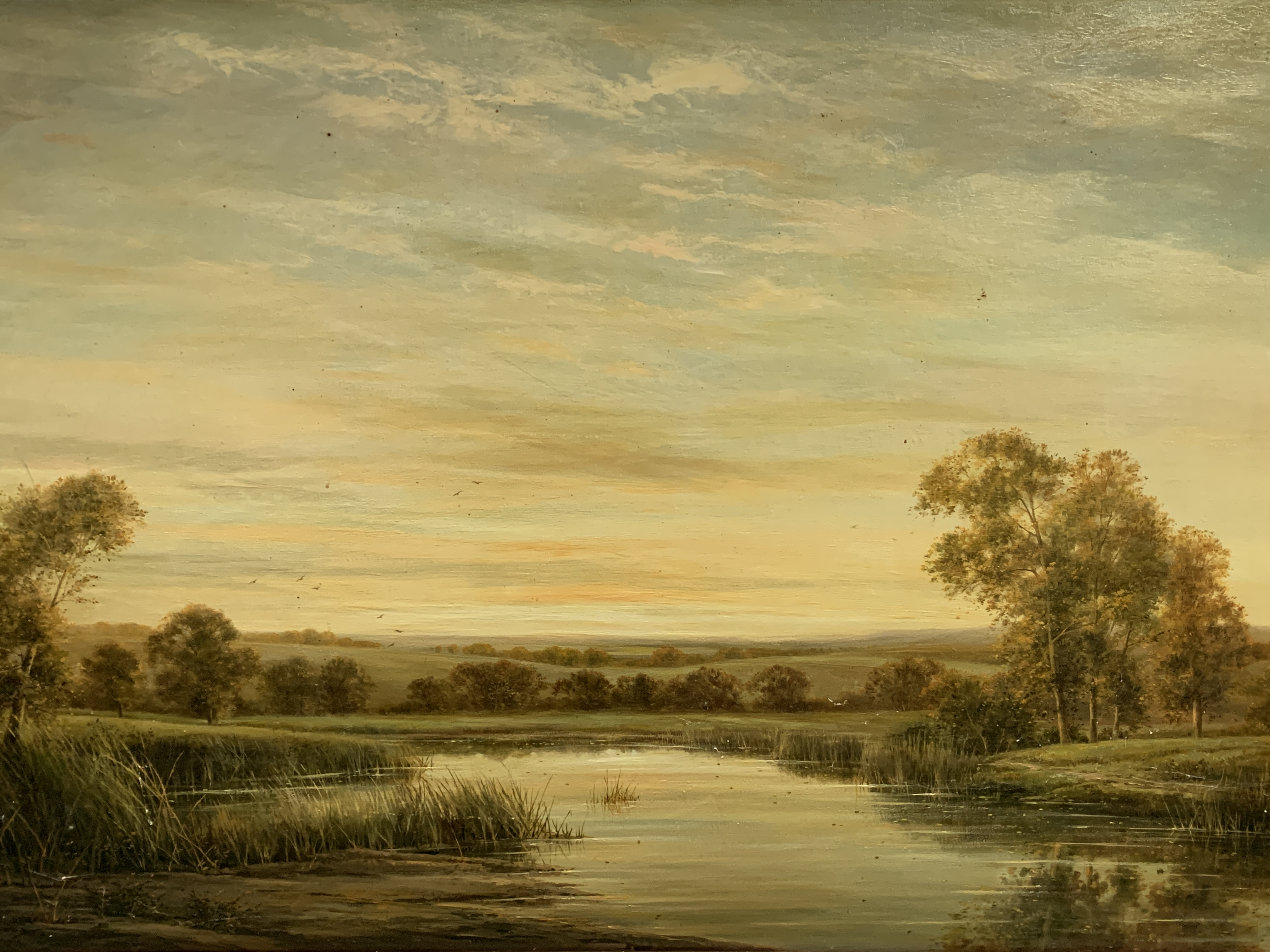 """Gilt framed oil on canvas of a river and landscape, written on reverse """"On the River Kennett"""" - Image 3 of 5"""