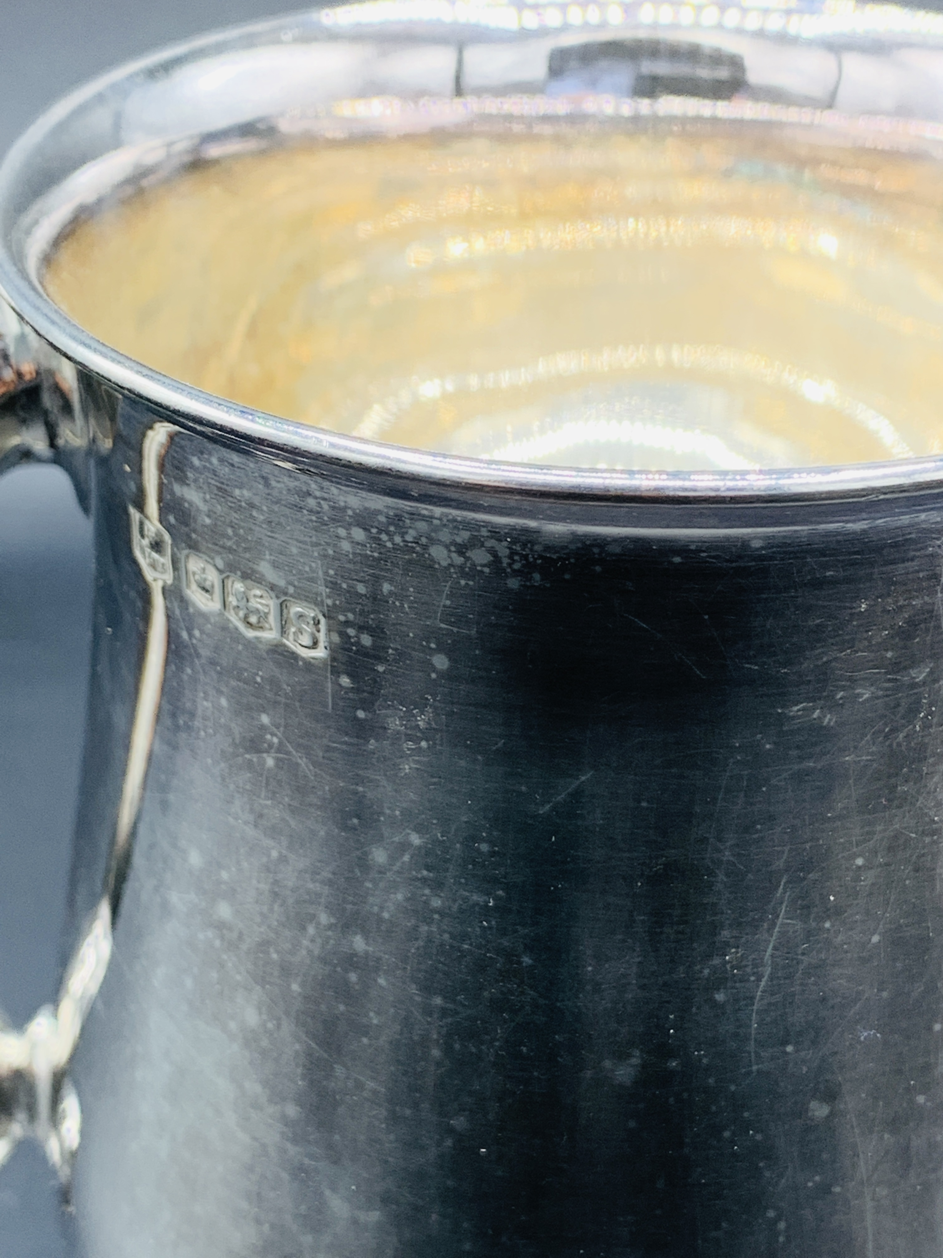 Silver tankard hallmarked Sheffield 1960; together with a silver trophy on Bakelite stand - Image 5 of 8