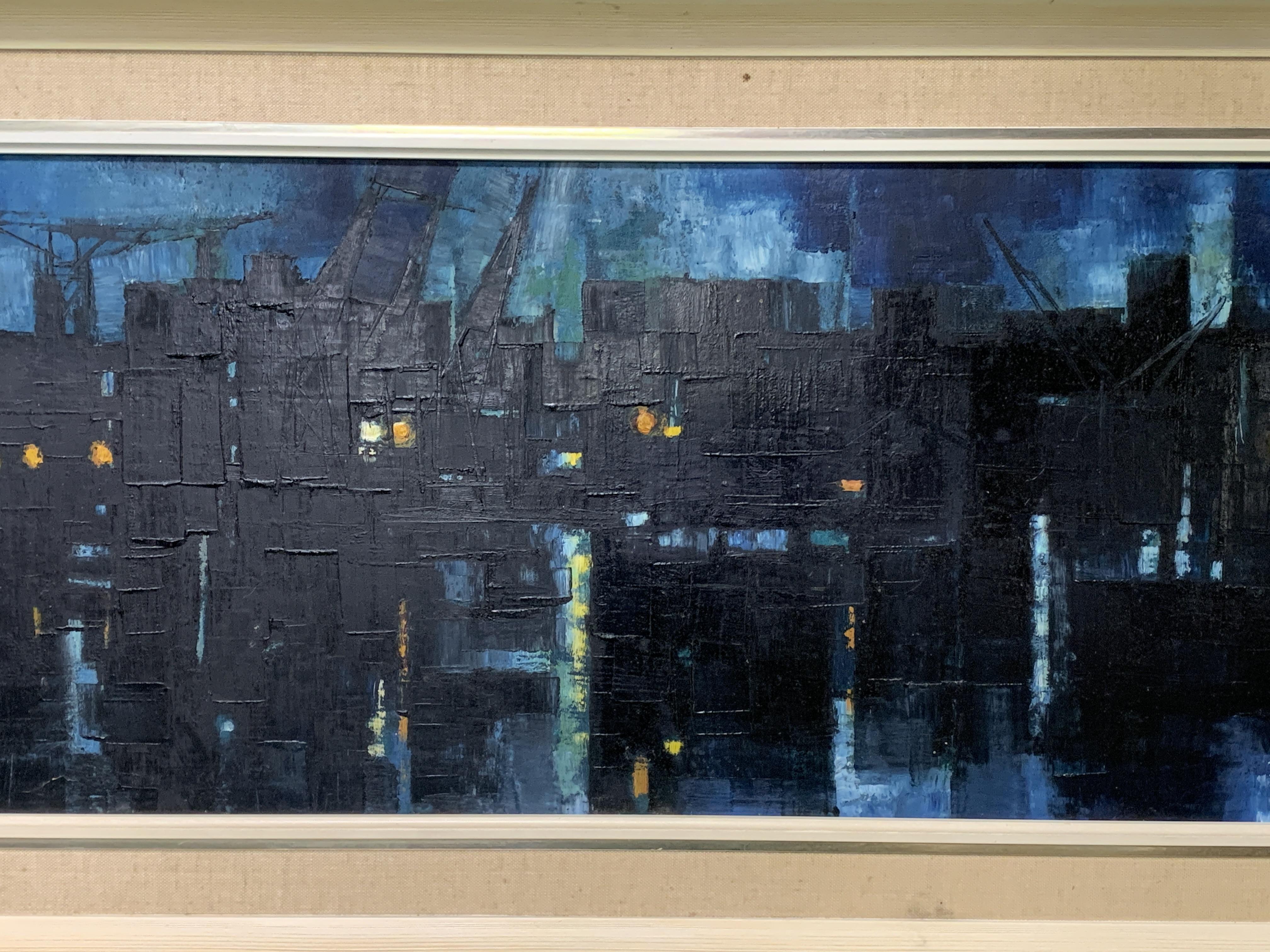A framed oil on board of docks at night
