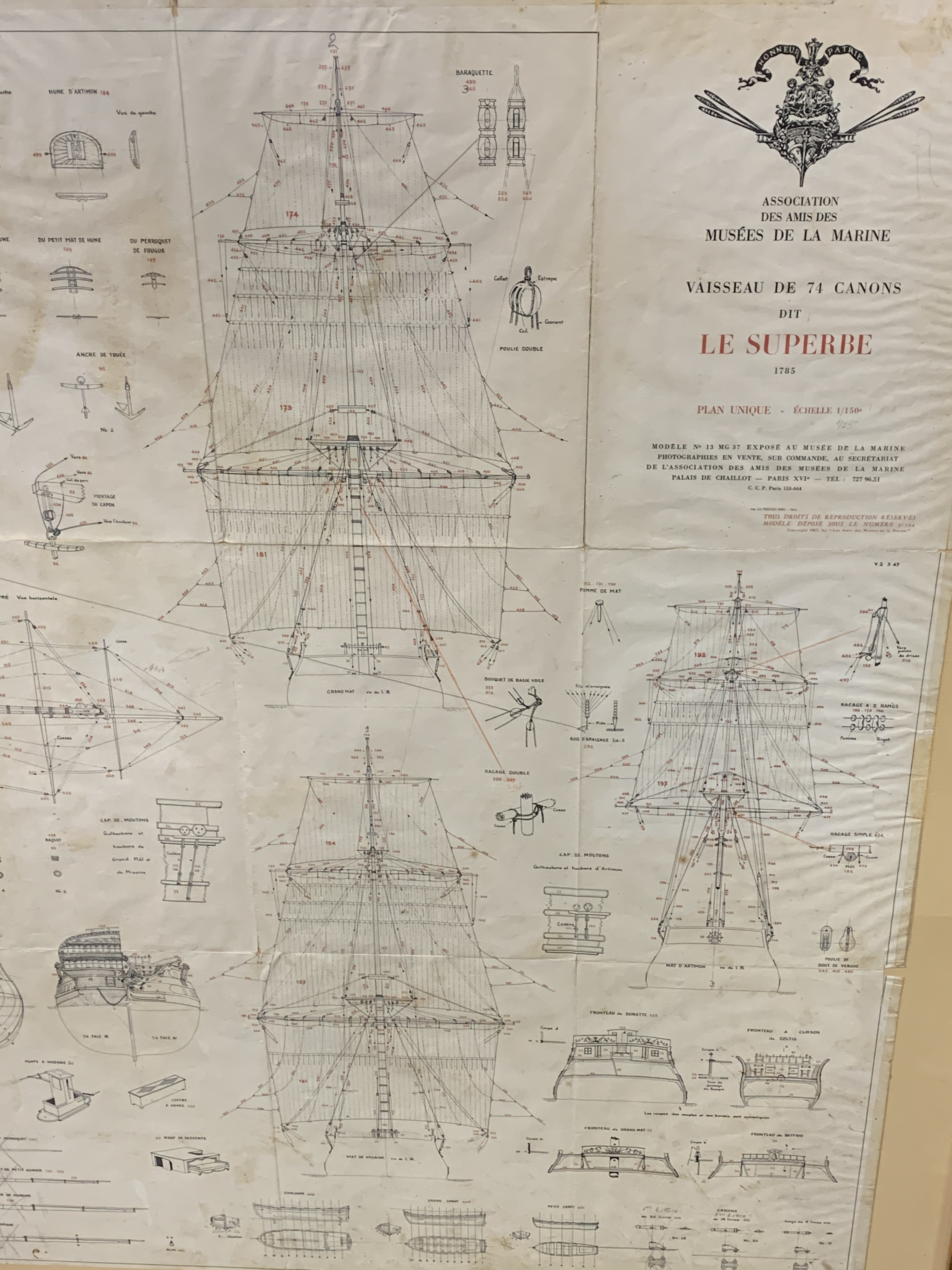 A Musee de La Marie, 1/150 scale plan of the 74 gun warship Le Superbe - Image 4 of 5
