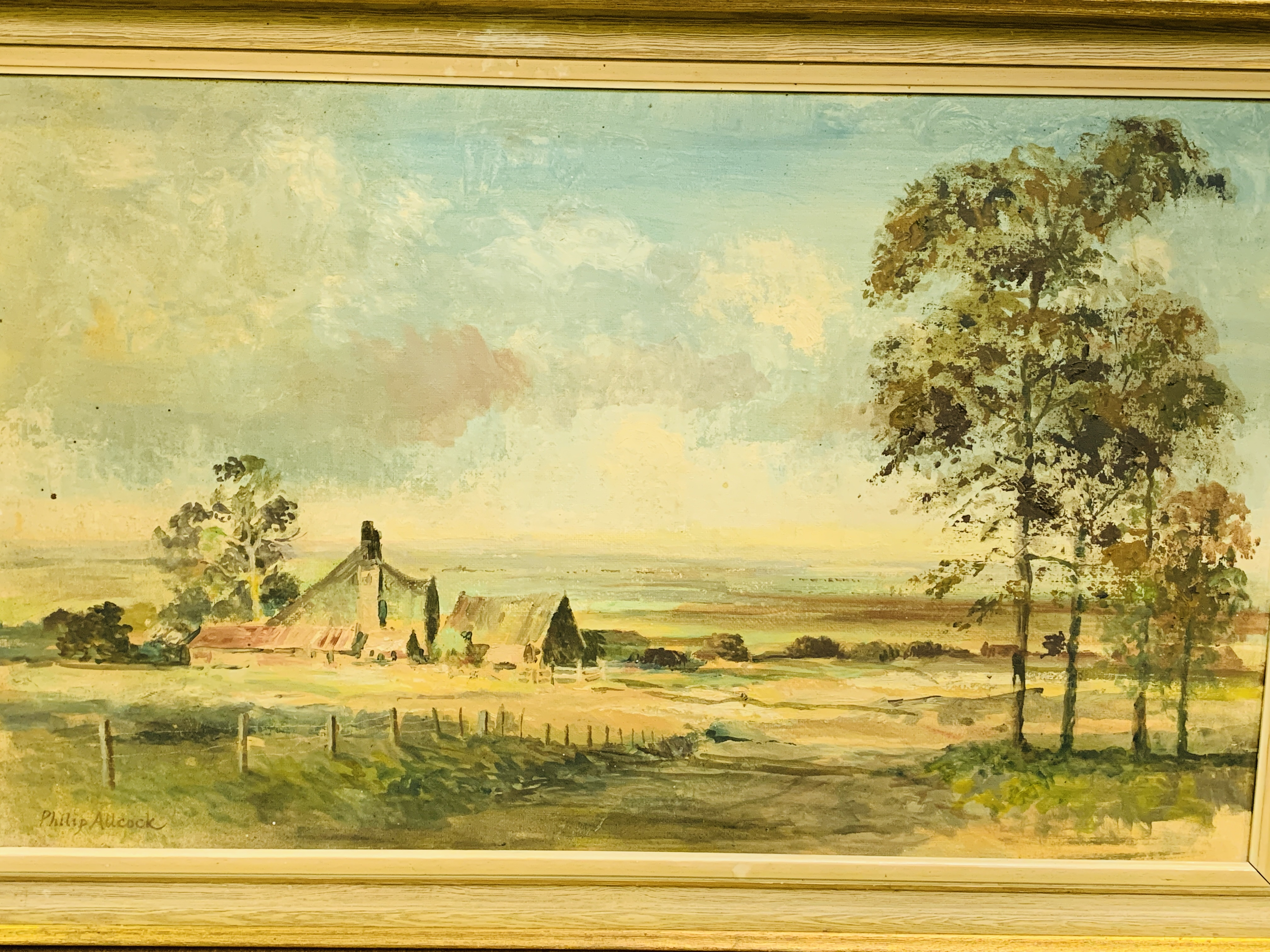 Framed oil on board of a landscape with a farmhouse, signed bottom left Philip Allcock - Image 2 of 5