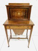 A small Edwardian inlaid burr walnut bureau cum sewing table