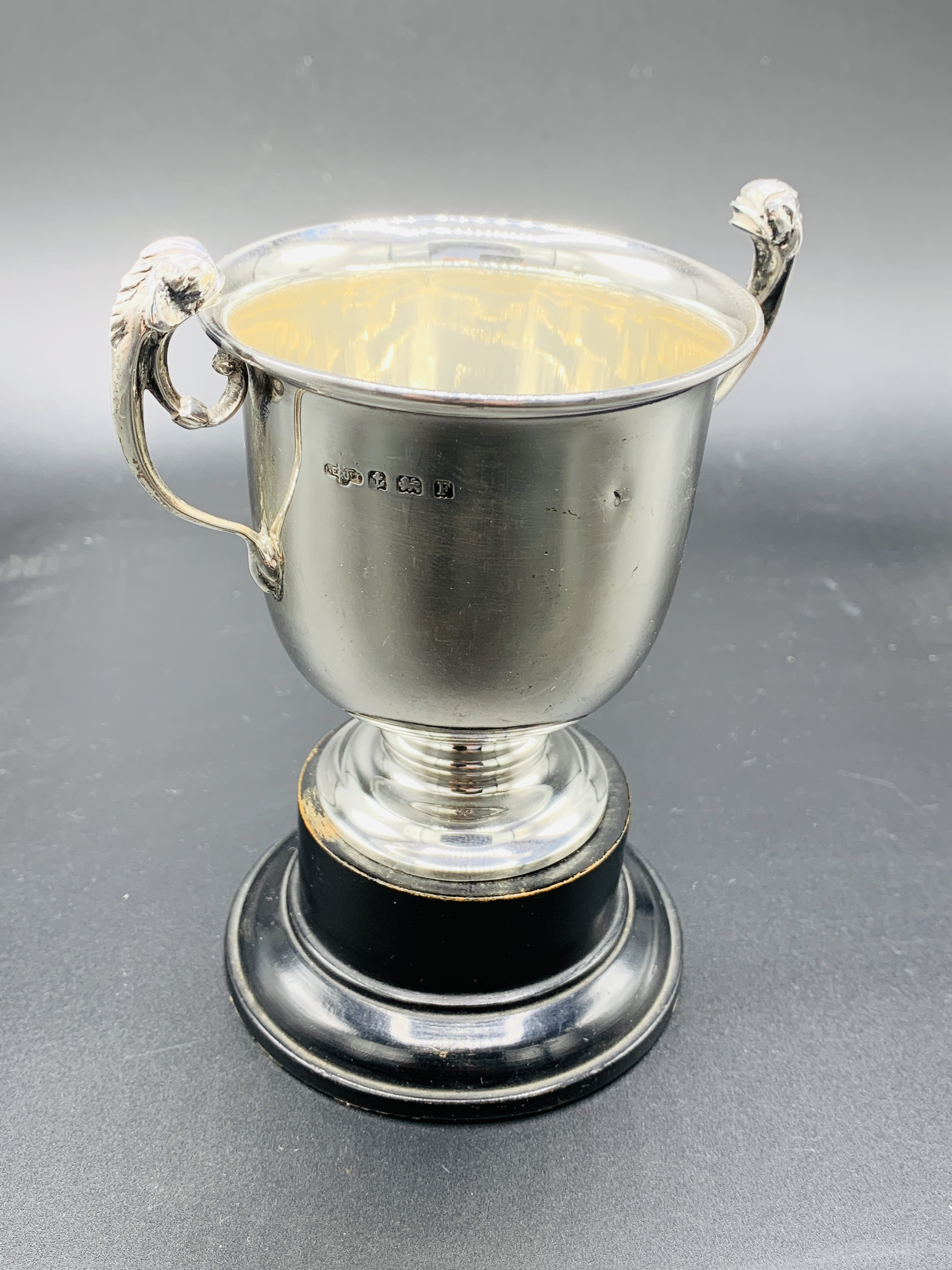 Silver tankard hallmarked Sheffield 1960; together with a silver trophy on Bakelite stand - Image 2 of 8