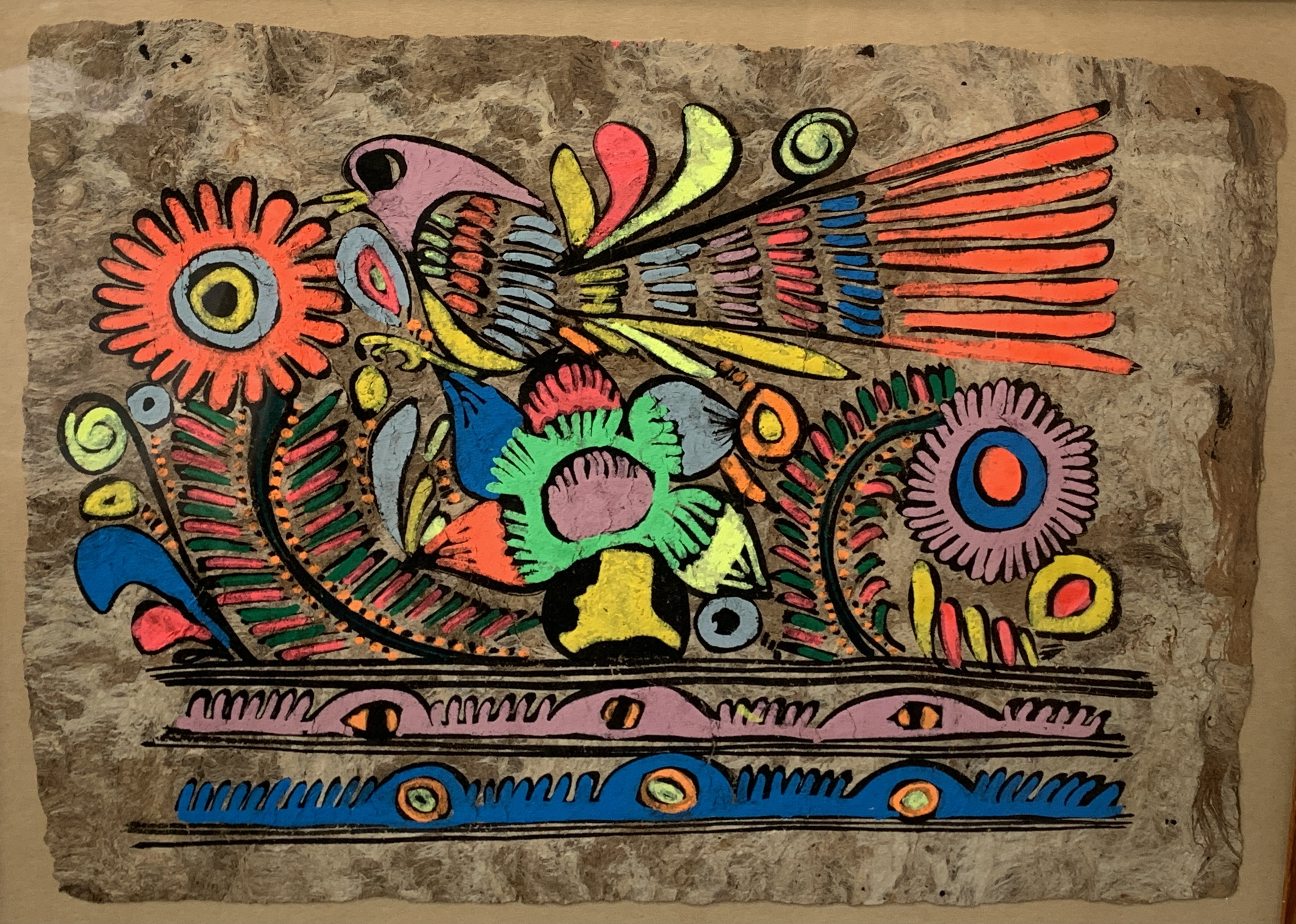 A pair of South American style acrylic on paper of birds and foliage