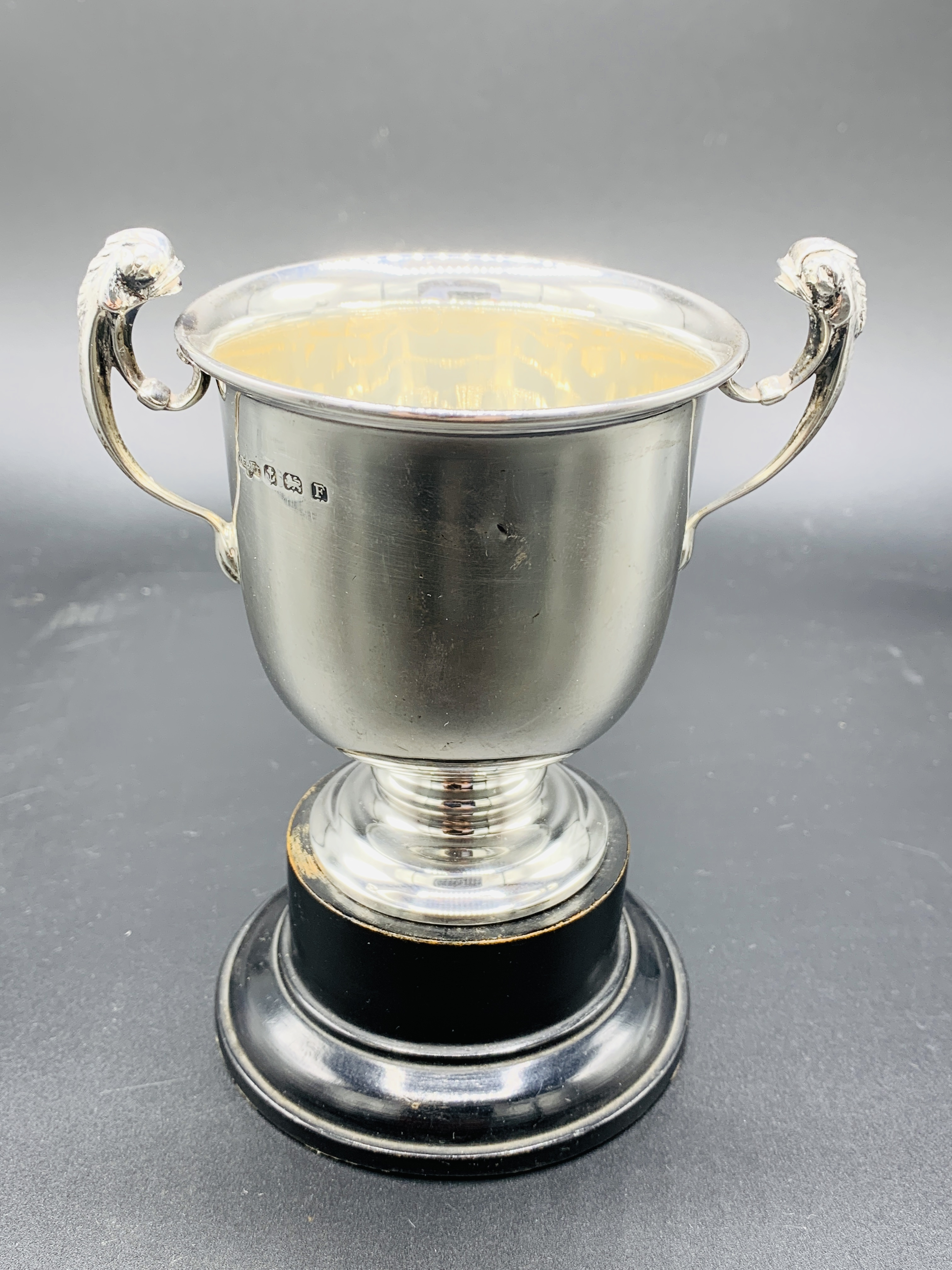 Silver tankard hallmarked Sheffield 1960; together with a silver trophy on Bakelite stand - Image 3 of 8
