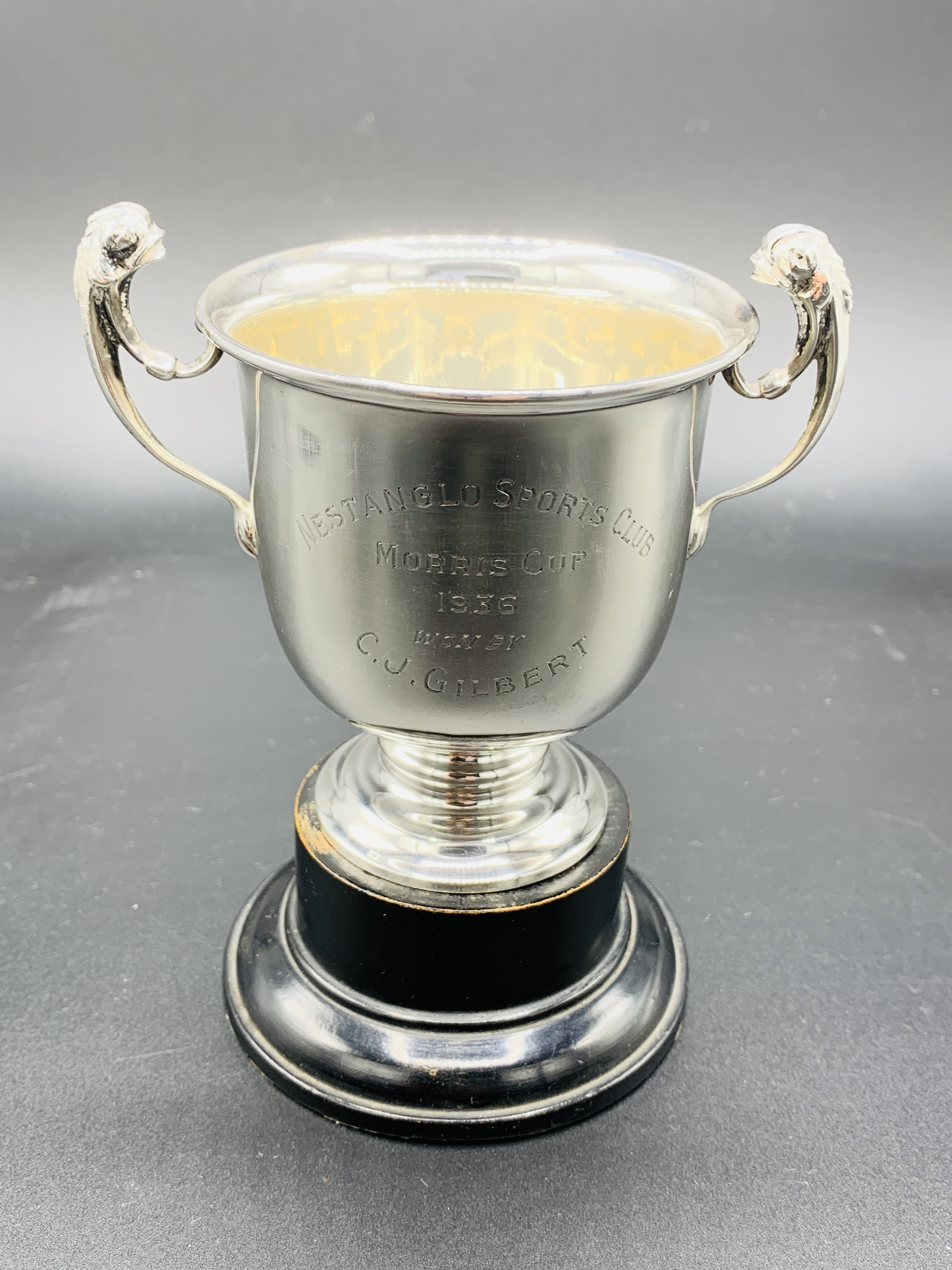 Silver tankard hallmarked Sheffield 1960; together with a silver trophy on Bakelite stand - Image 4 of 8