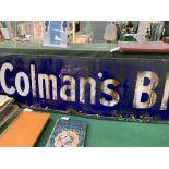 """Enamel advertising sign for """"Colman's Blue"""""""