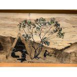 Framed and glazed indigenous Aboriginal bark painting circa 1950's