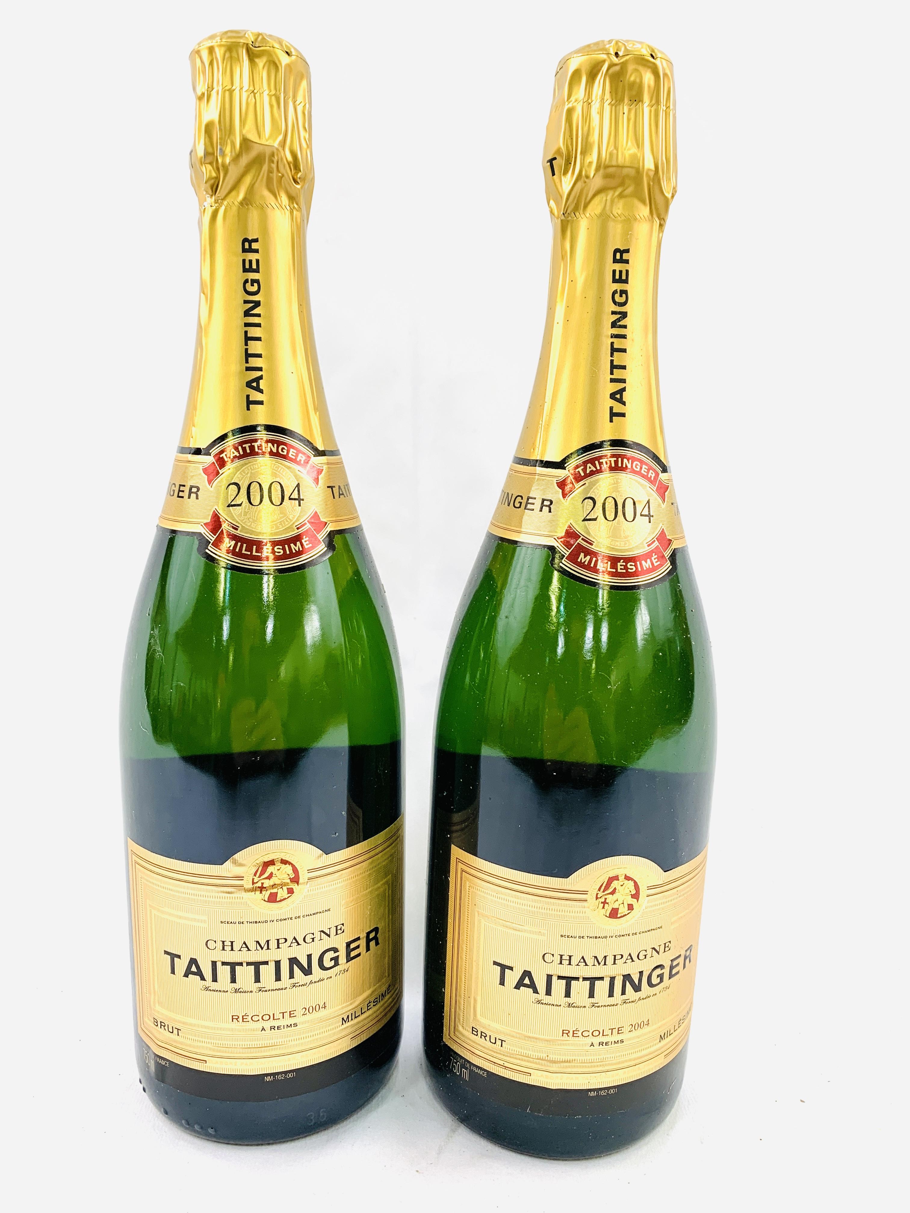 Two 75cl bottles of 2004 Taittinger Brut Millesime champagne