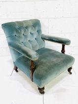 Victorian button-back open armchair