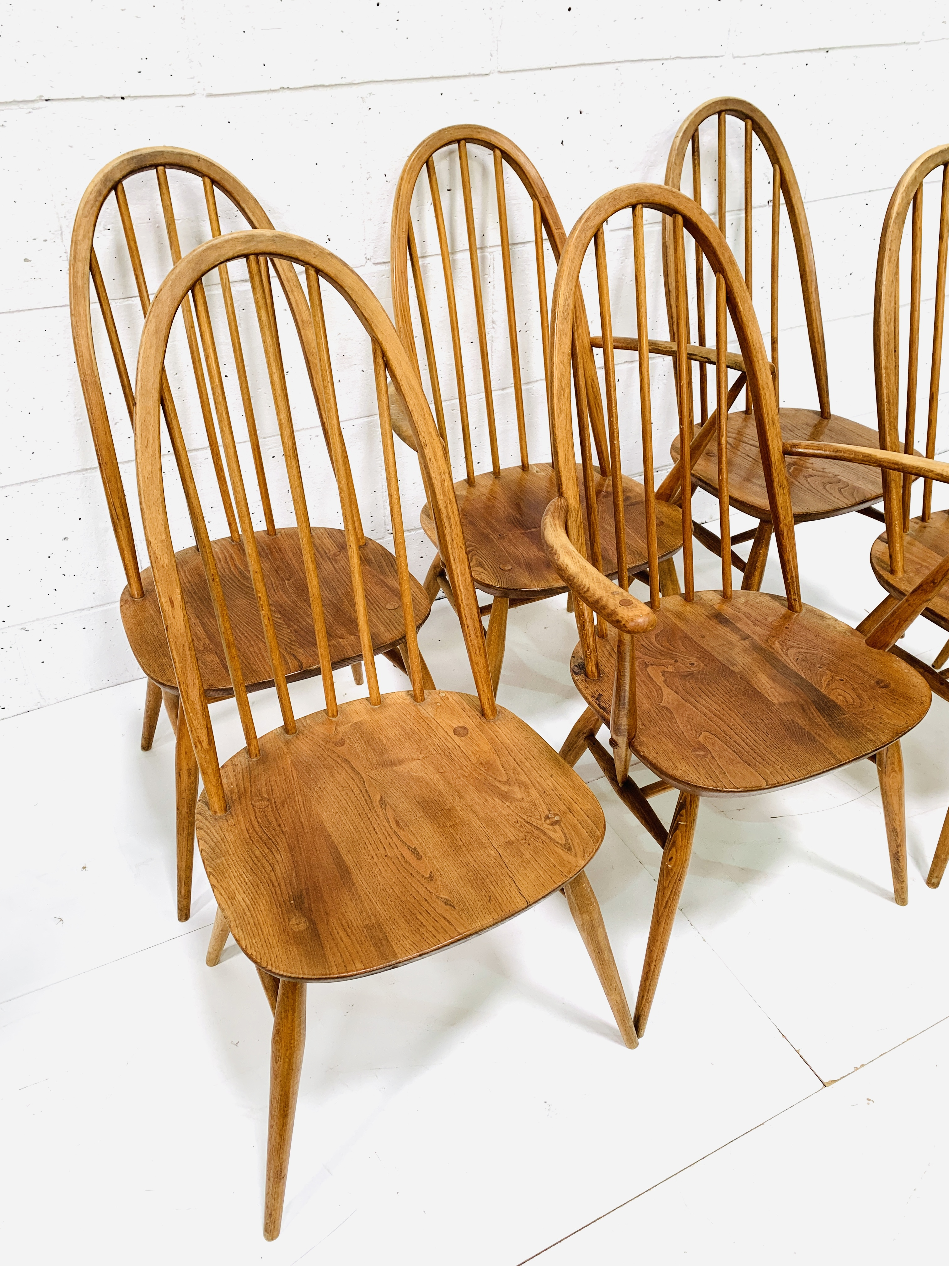 Set of six (4 + 2) Ercol high rail back dining chairs - Image 5 of 5