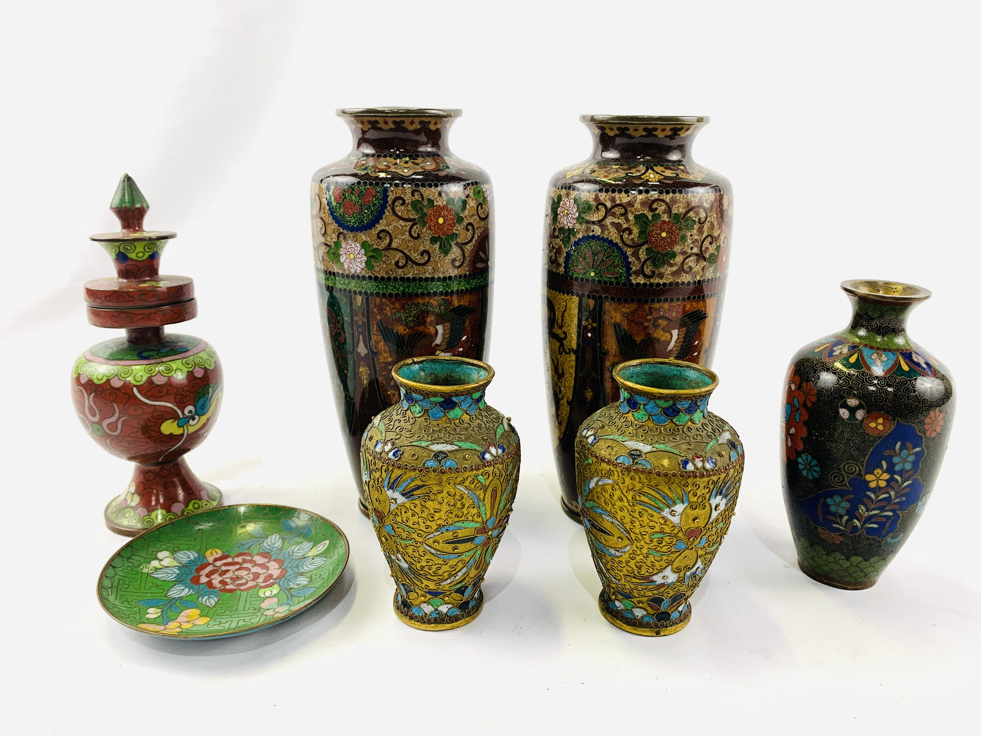 Collection of cloisonné objects