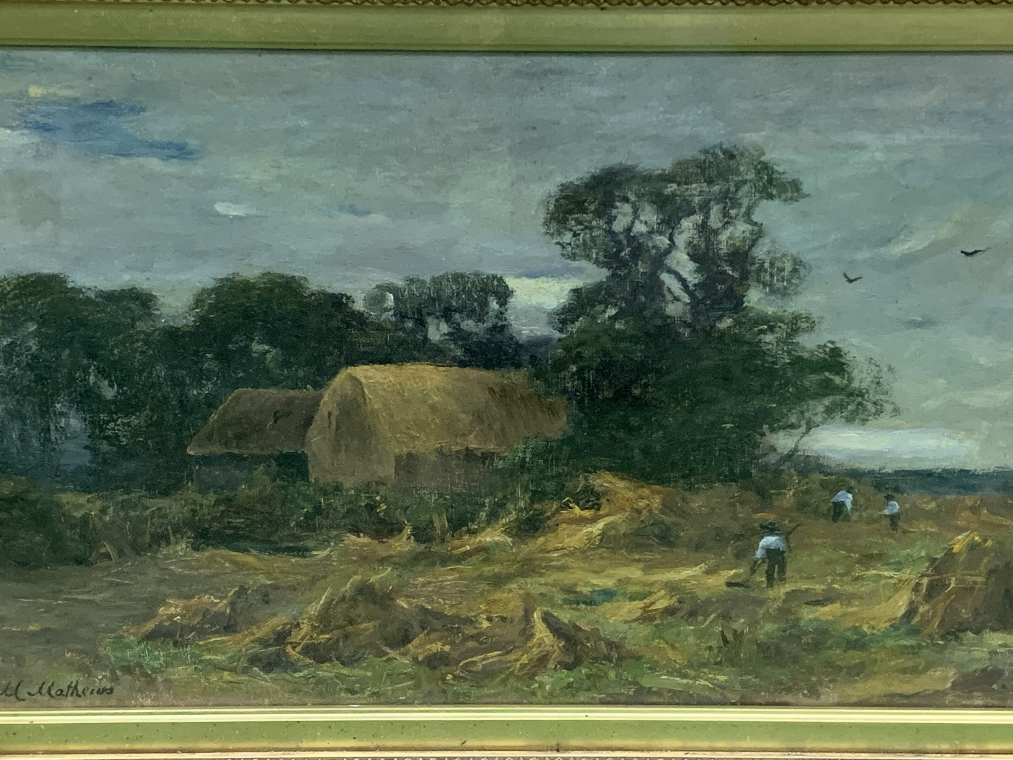 Gilt framed and glazed oil on canvas signed M Mathews - Image 3 of 3