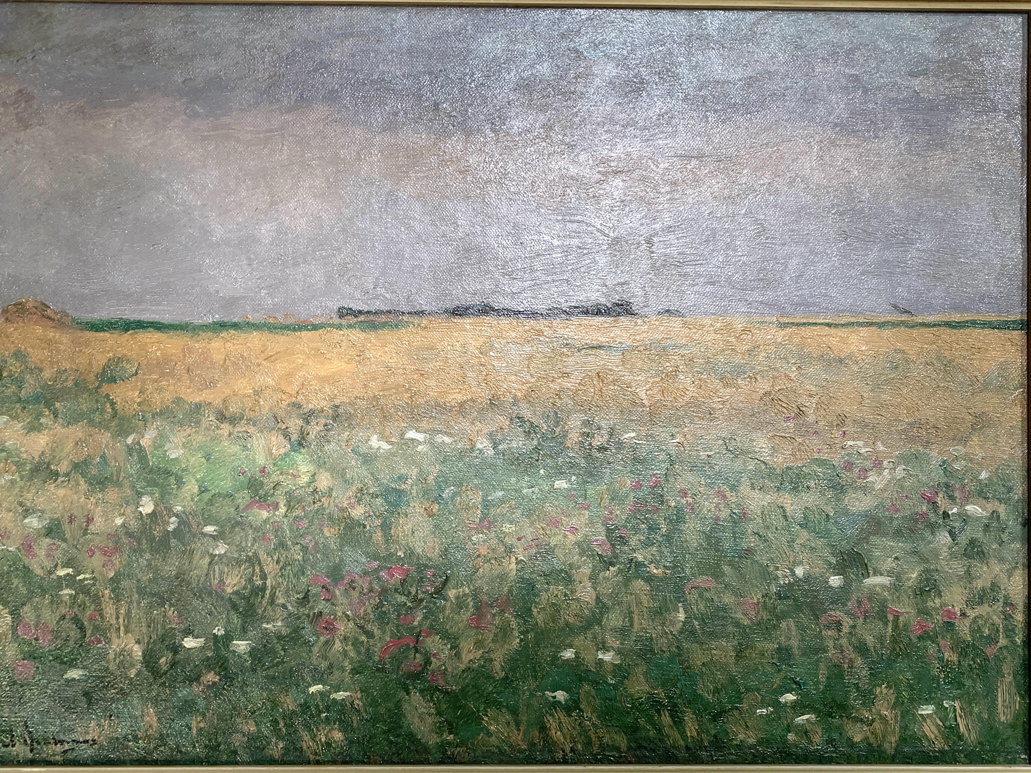 Framed oil on canvas of fields signed P. Arntzenius