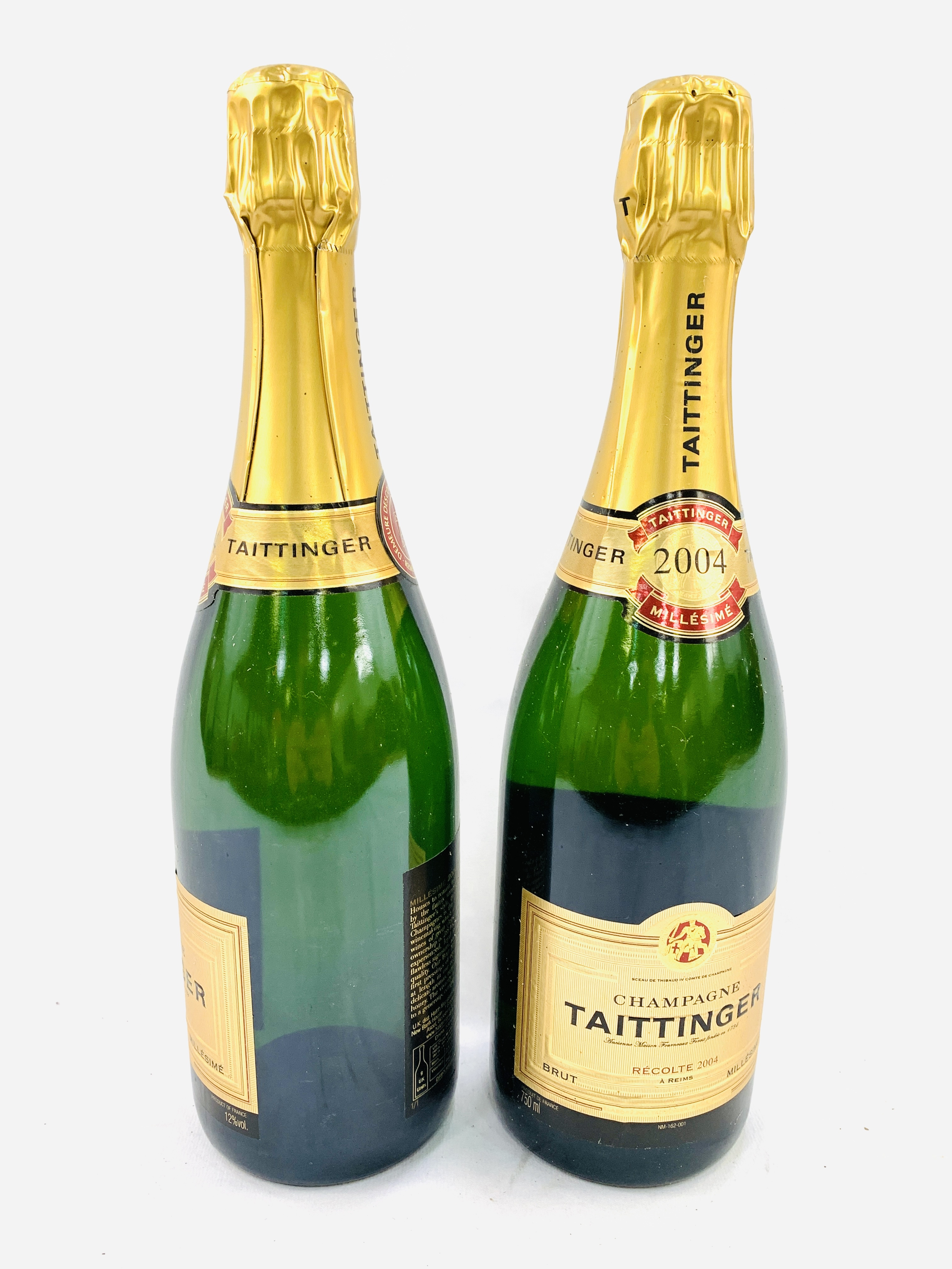 Two 75cl bottles of 2004 Taittinger Brut Millesime champagne - Image 2 of 3