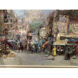 Framed oil on canvas of a Parisian street scene