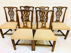 Group of six 19th century mahogany framed Chippendale style chairs