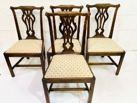 Group of four 19th Century mahogany framed Chippendale style chairs