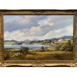 A gilt framed oil on canvas of an estuary scene with cottages, signed Denis Thornton