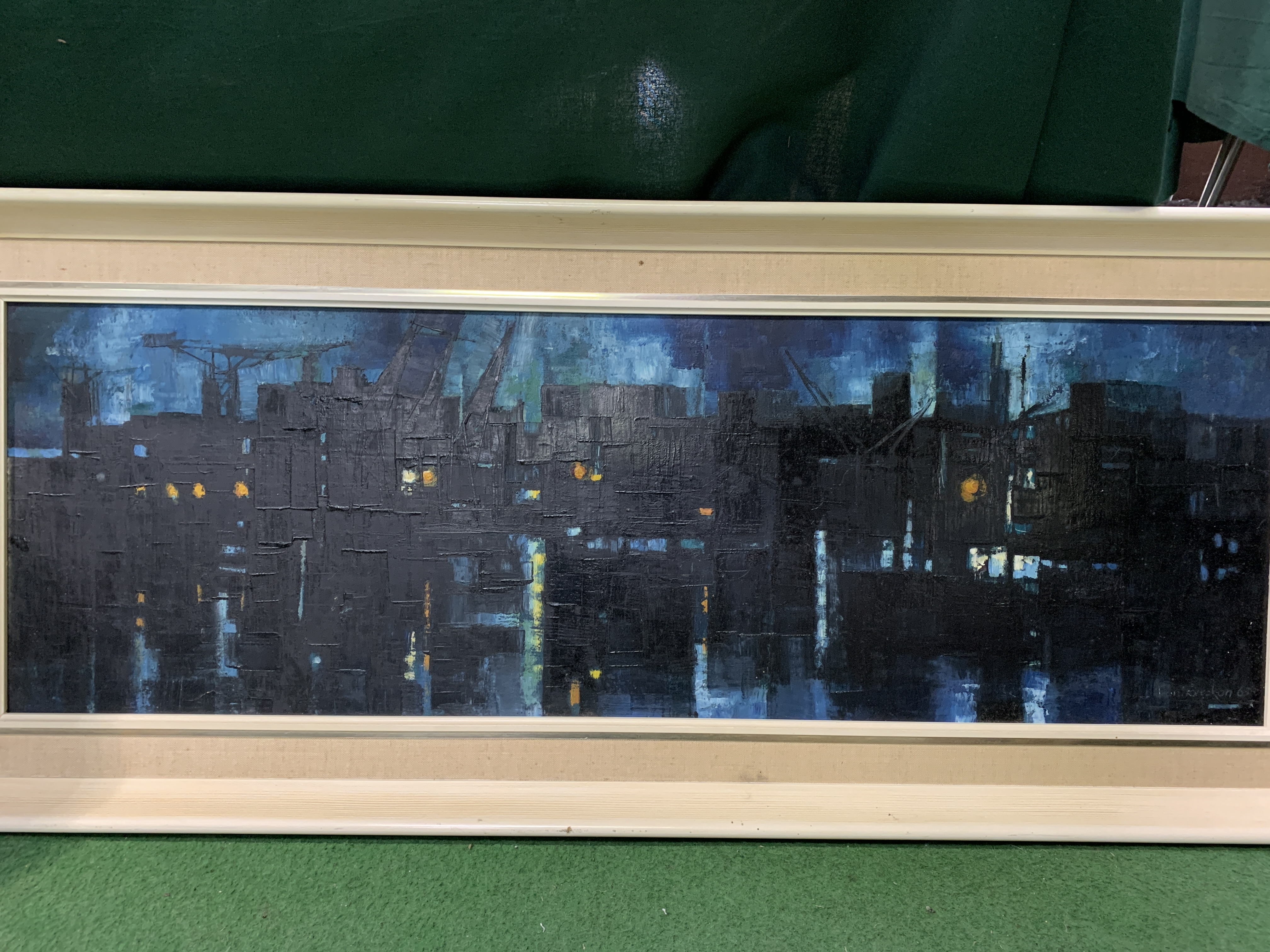A framed oil on board of docks at night - Image 4 of 4