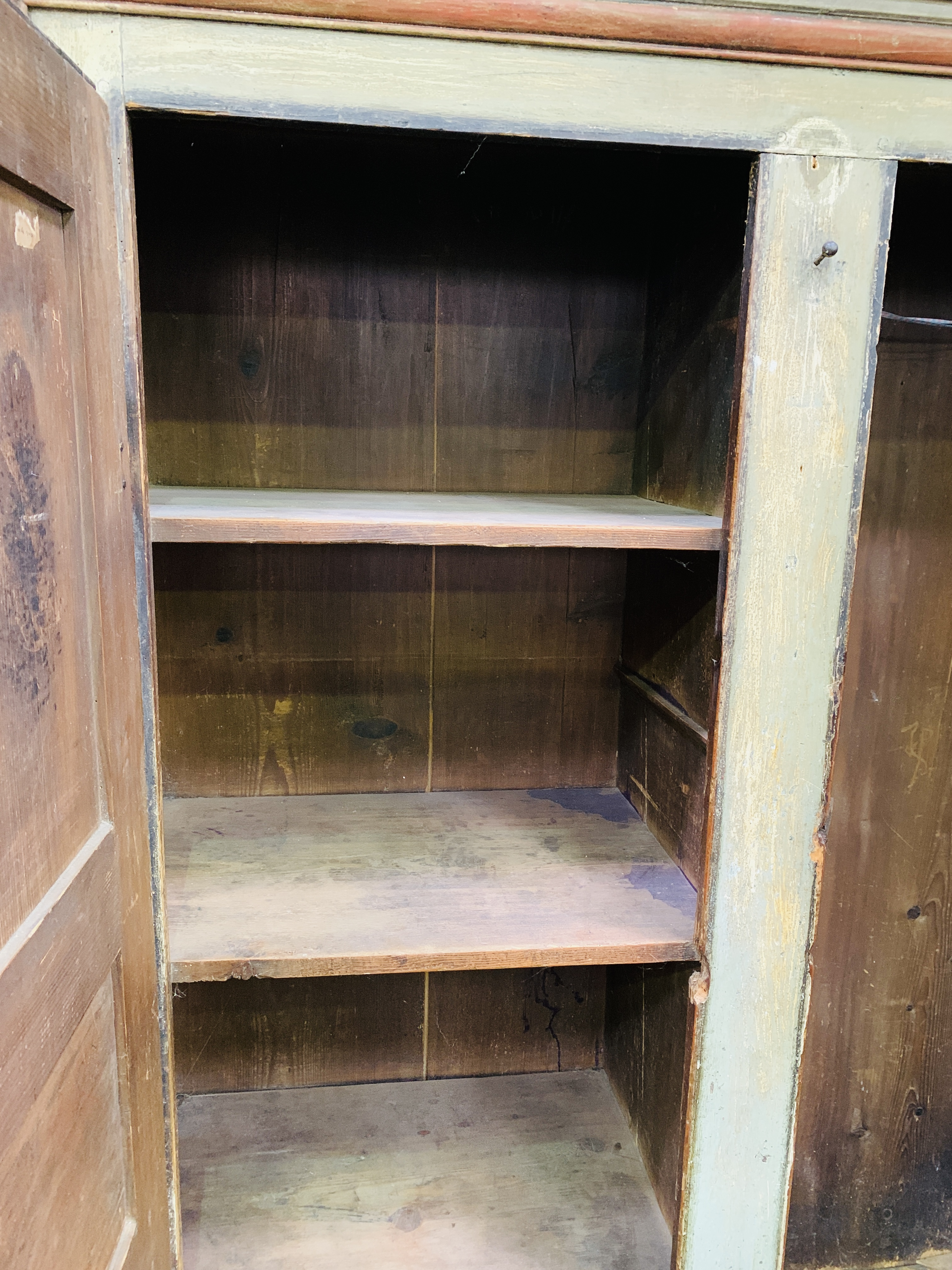 Mid-19th century French painted pine wardrobe - Image 2 of 8