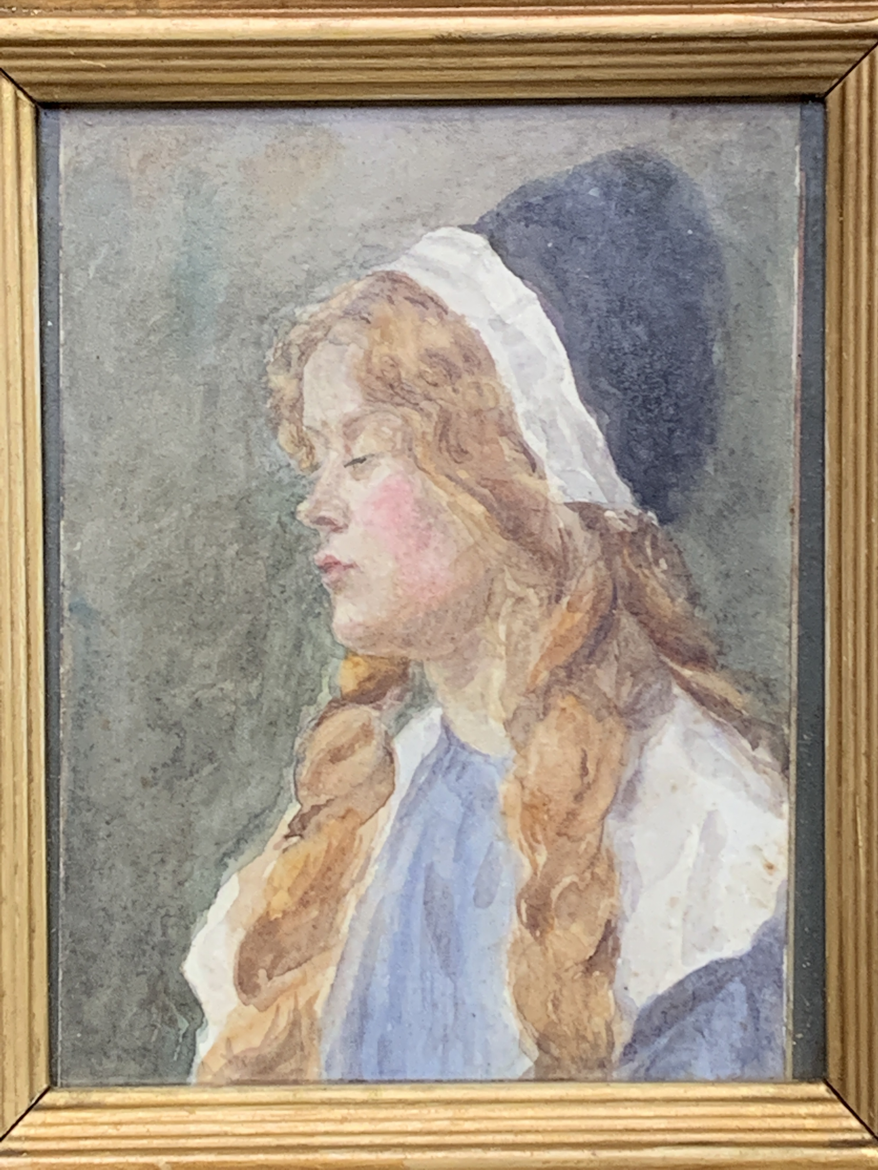 A small gilt framed watercolour of a girl - Image 2 of 4