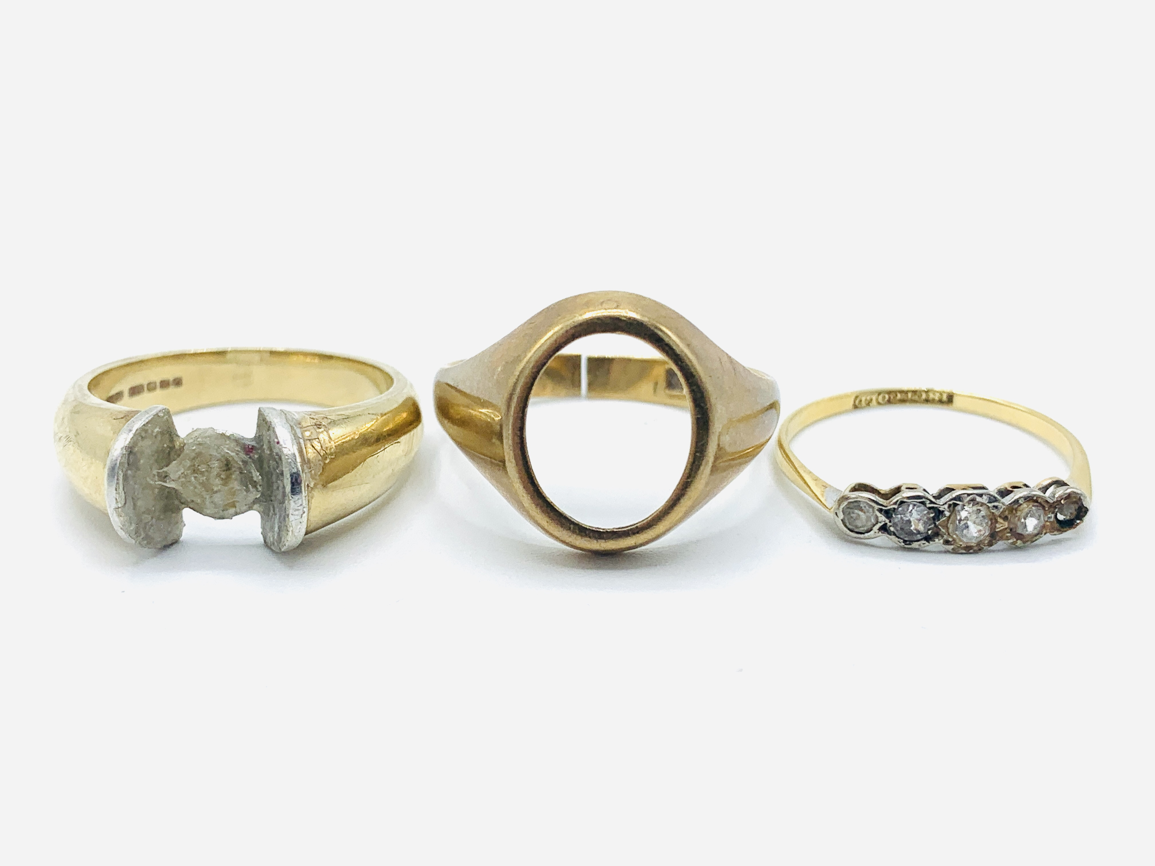 18ct gold and five white stone ring; together with two 9ct gold rings