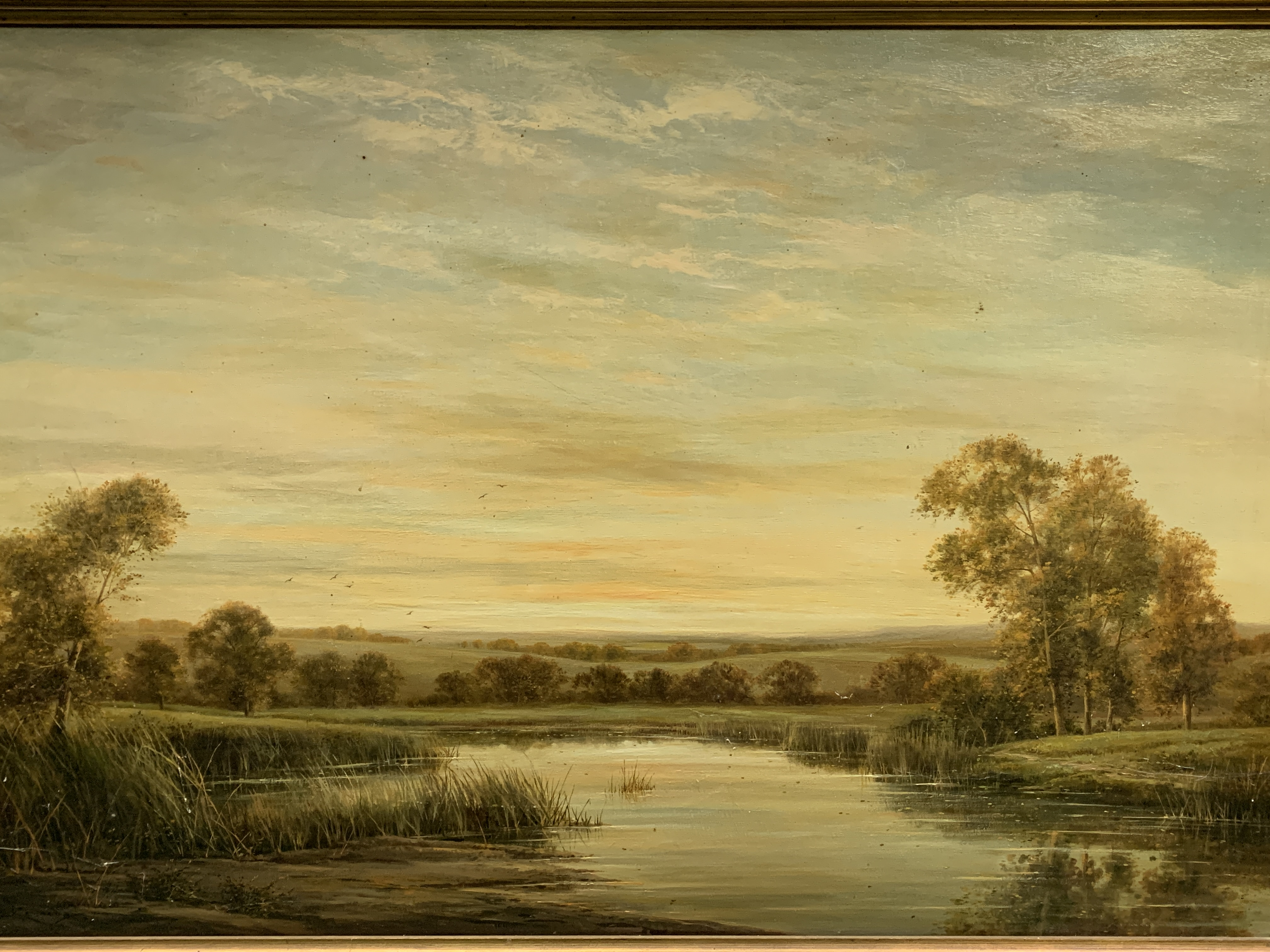 """Gilt framed oil on canvas of a river and landscape, written on reverse """"On the River Kennett"""" - Image 2 of 5"""