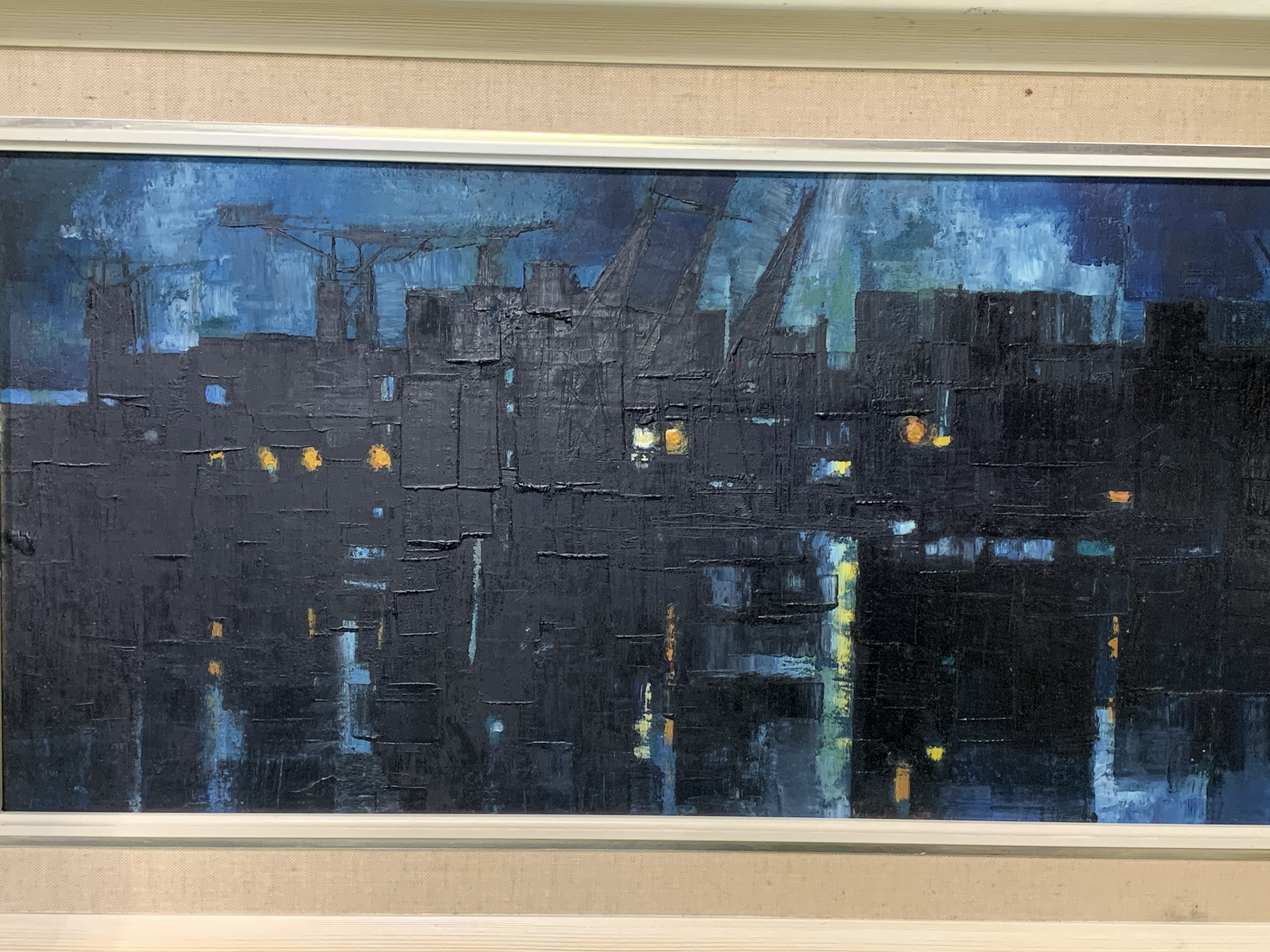 A framed oil on board of docks at night - Image 3 of 4