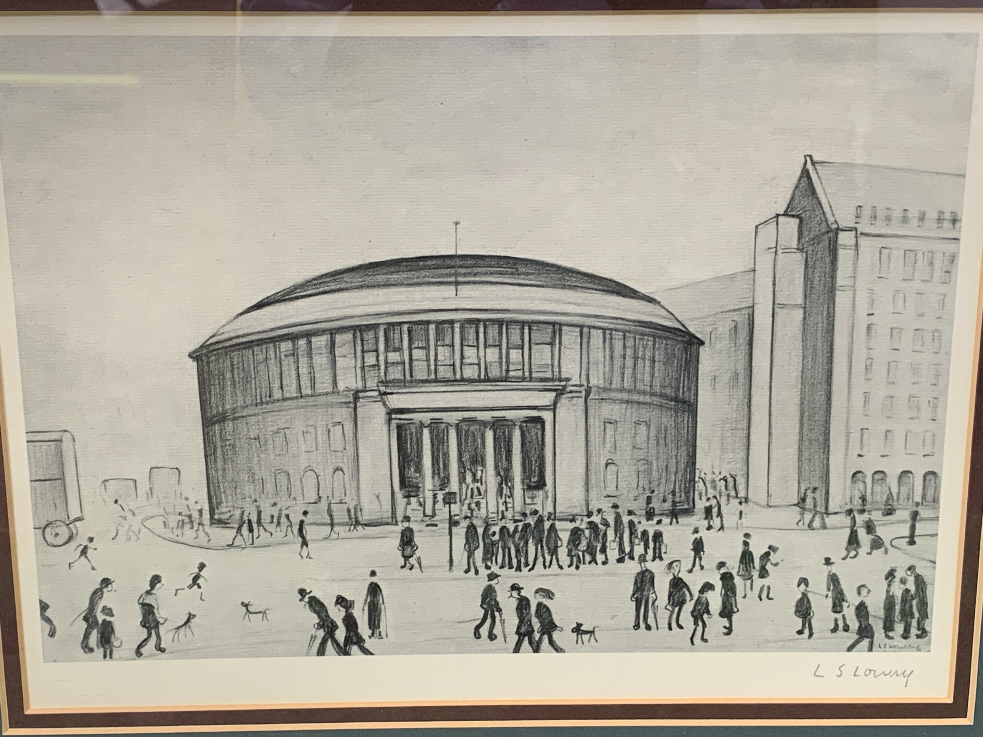 Framed and glazed Limited Edition L S Lowry print of Manchester Reference Library