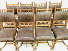 Set of eight oak Gothic revival style chairs