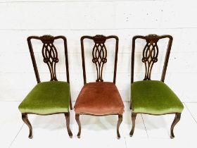 Three Georgian style mahogany dining chairs