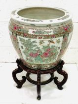Large Canton famille rose bowl on stand