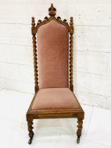 Oak framed high back hall chair