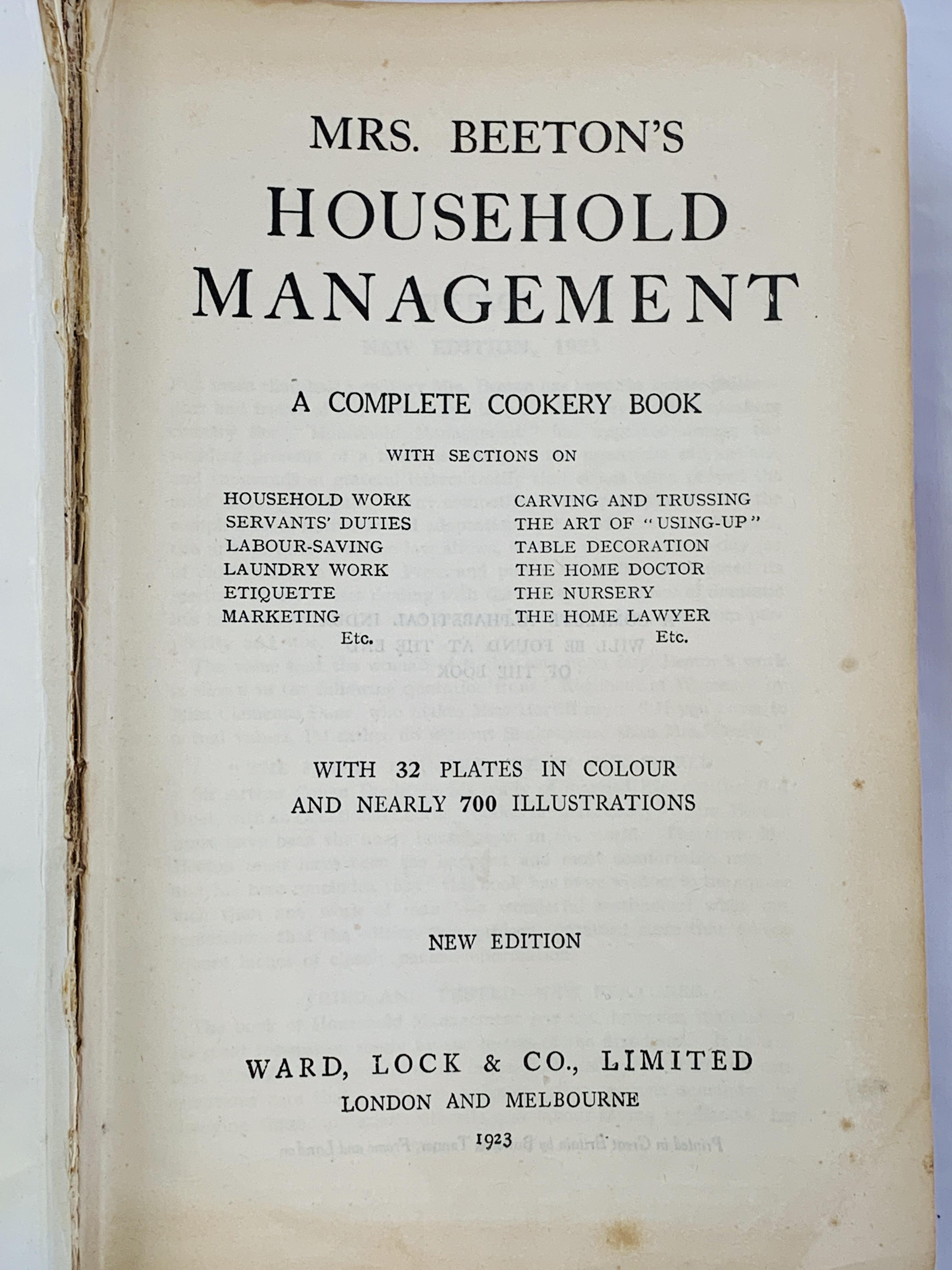 Mrs Beeton's Household Management, published 1923 - Image 2 of 4