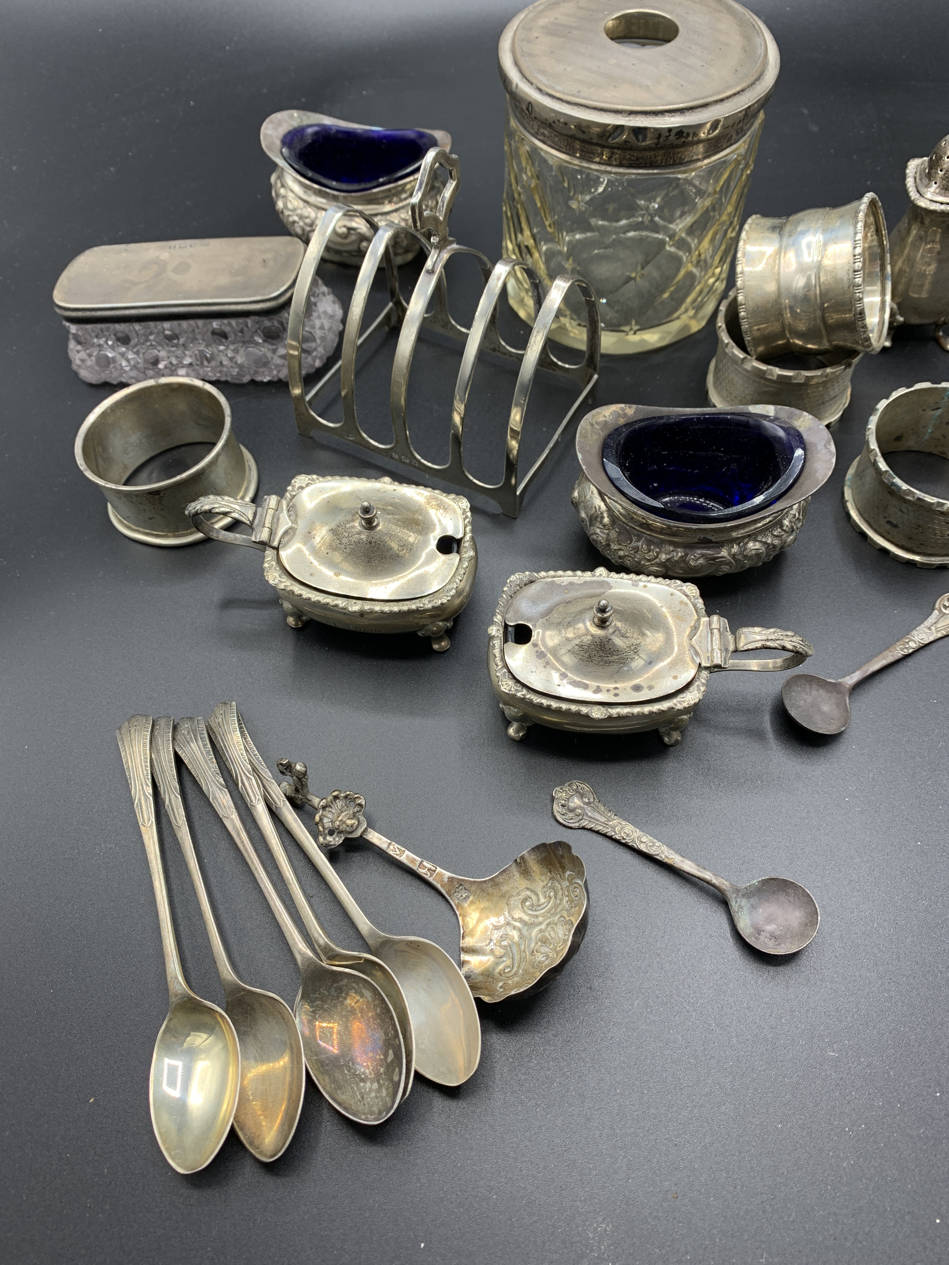 Silver cruets and other silver item
