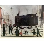 Framed and glazed print by L S Lowry signed in the margin