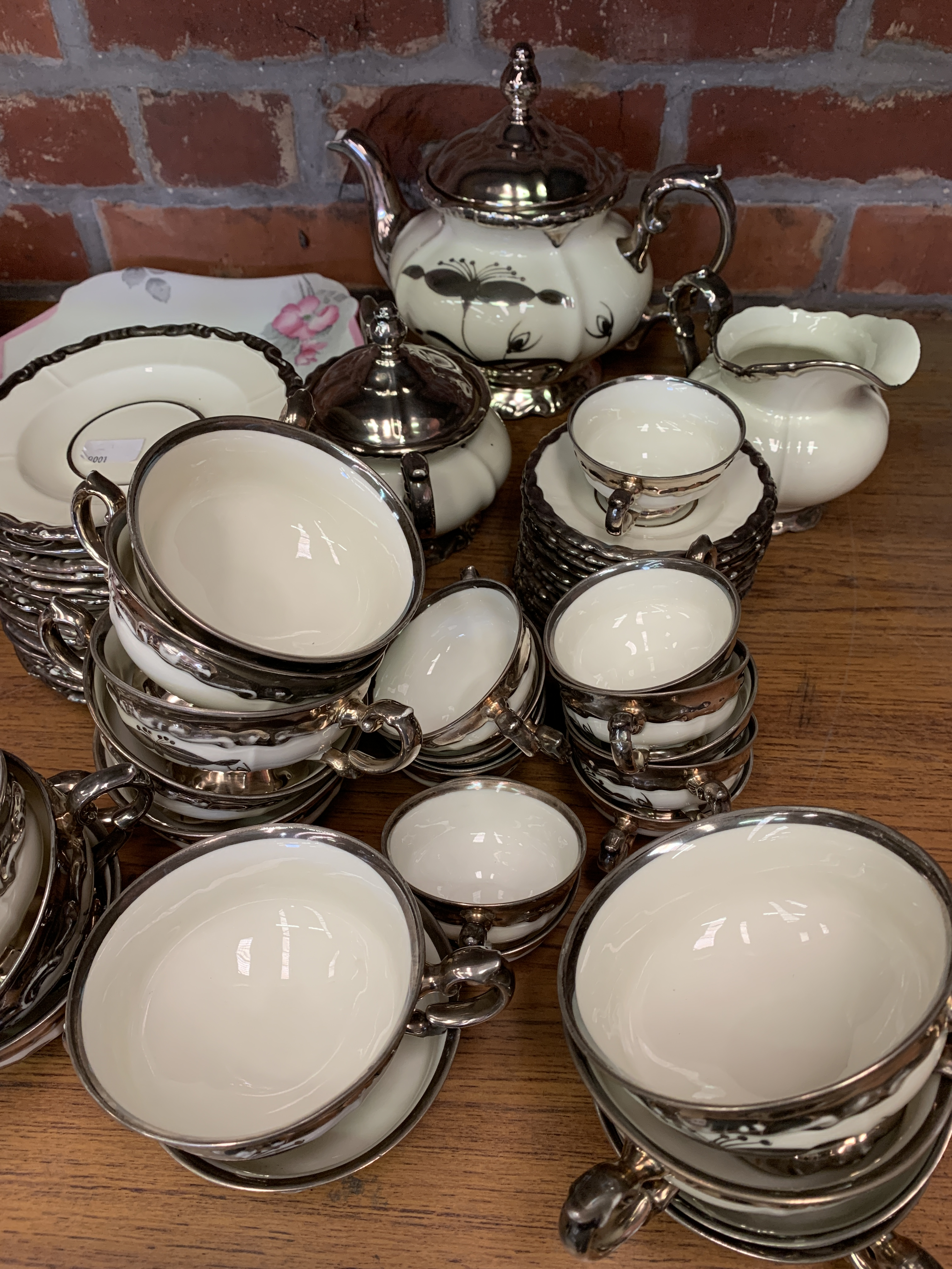 Bavarian part tea and coffee set, together with a Shelley part tea set, and a counter bell