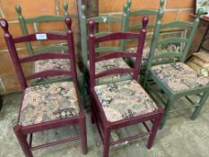 Set of six painted wood framed ladder back chairs