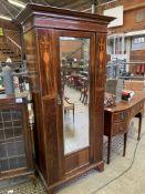Edwardian inlaid mahogany single wardrobe